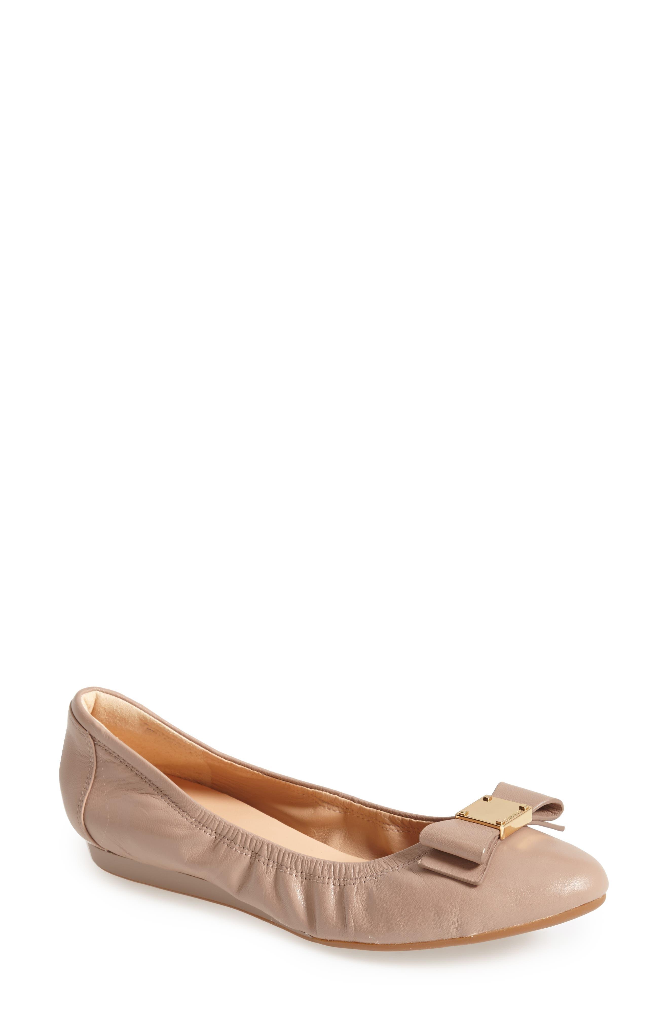 'Tali' Bow Ballet Flat,                             Main thumbnail 1, color,                             Maple Sugar