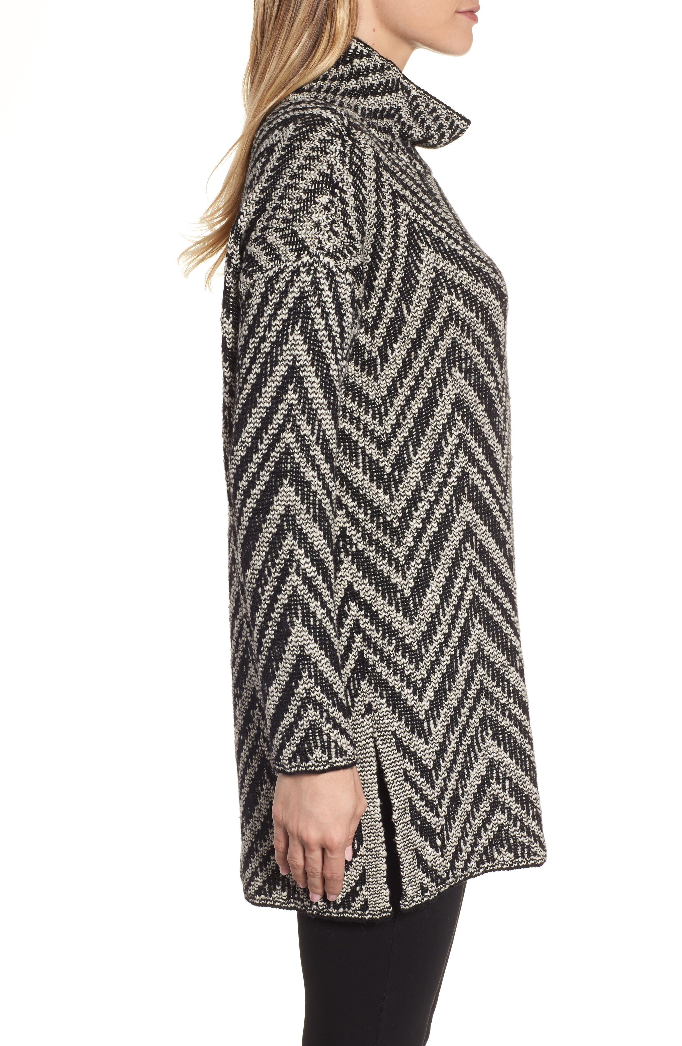 Zigzag Organic Cotton & Alpaca Tunic Sweater,                             Alternate thumbnail 3, color,                             Black/ Soft White