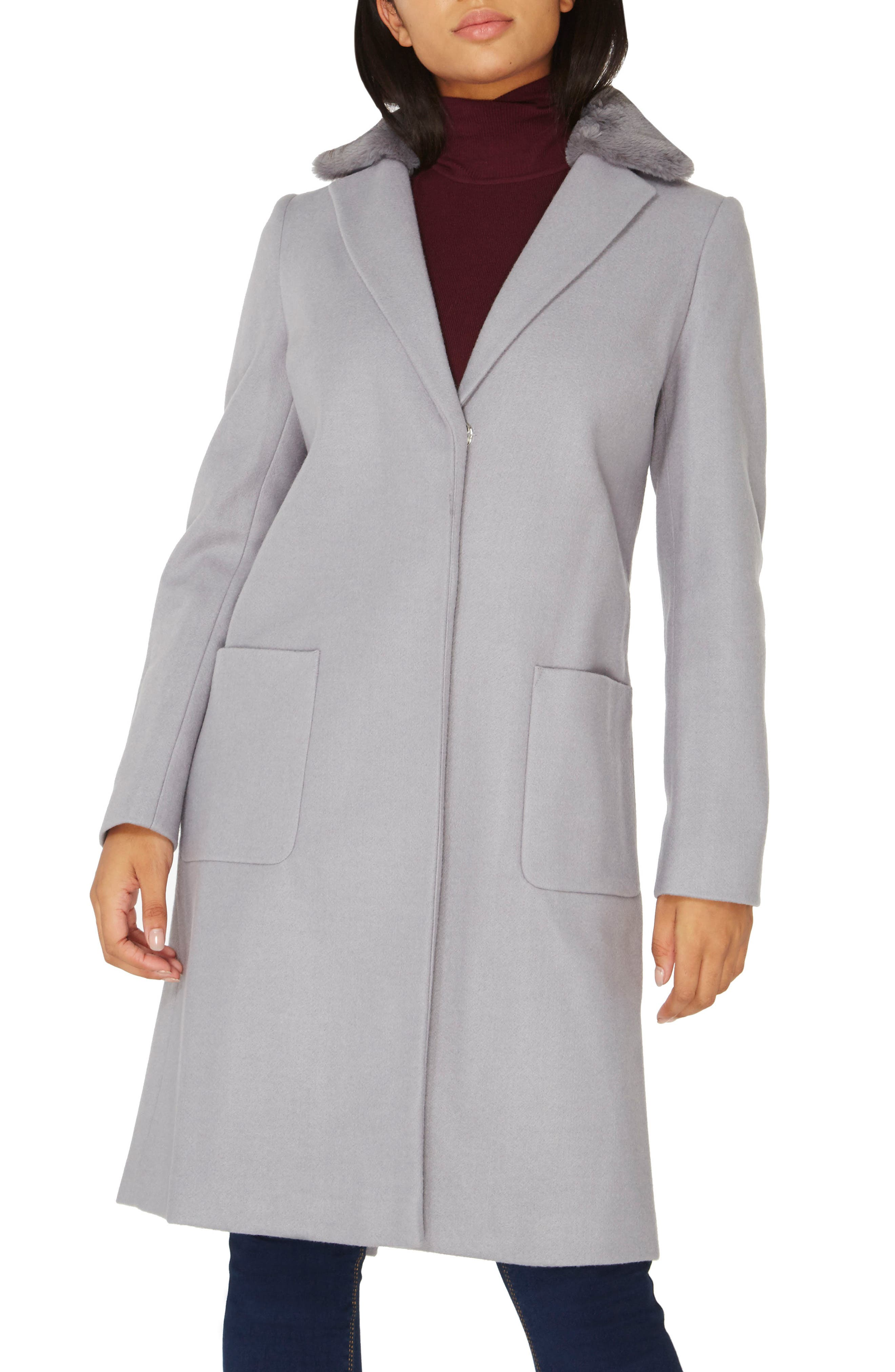 Coat with Faux Fur Collar,                         Main,                         color, Grey