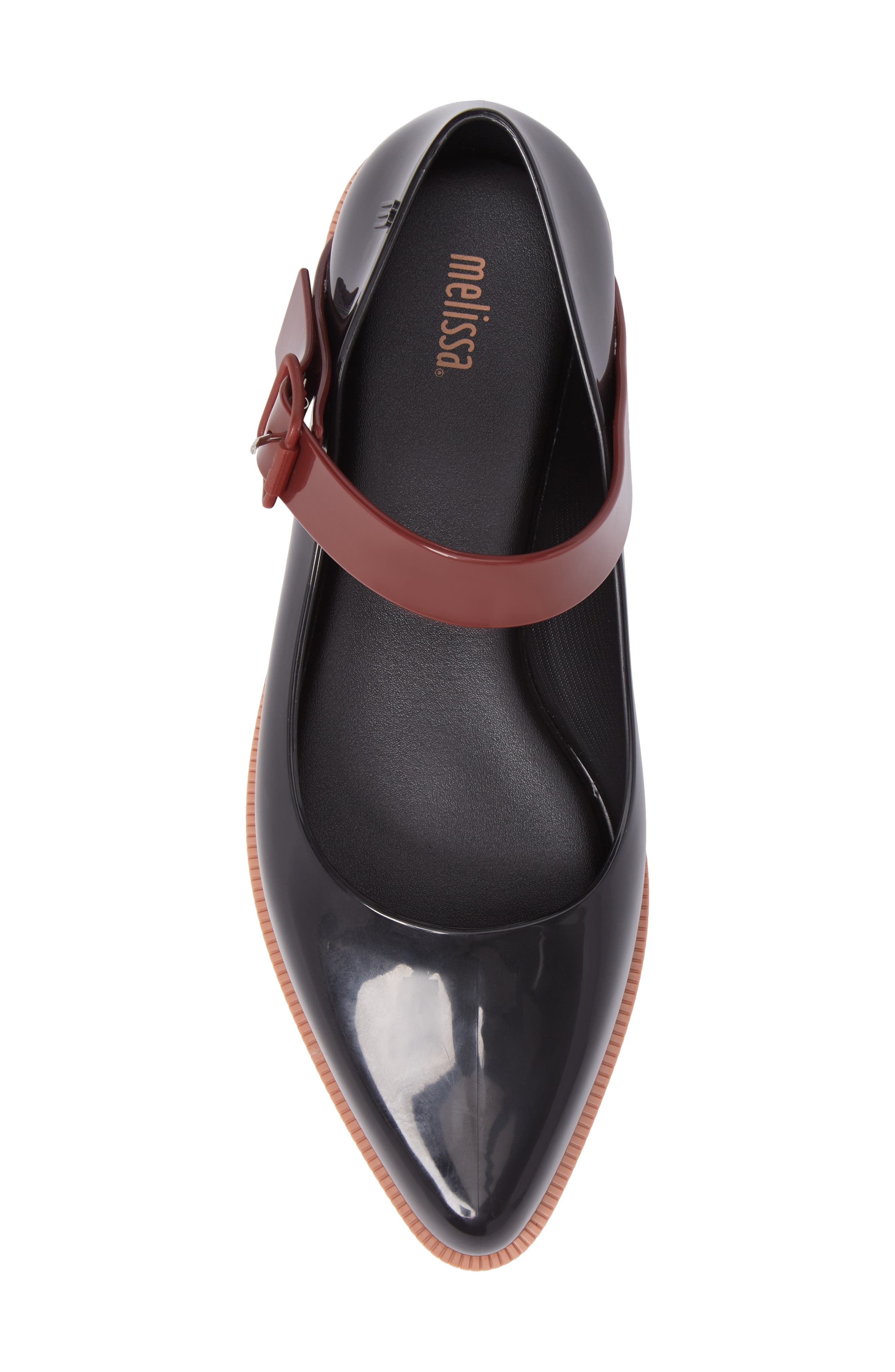 Pointy Toe Mary Jane Flat,                             Alternate thumbnail 5, color,                             Black Brown