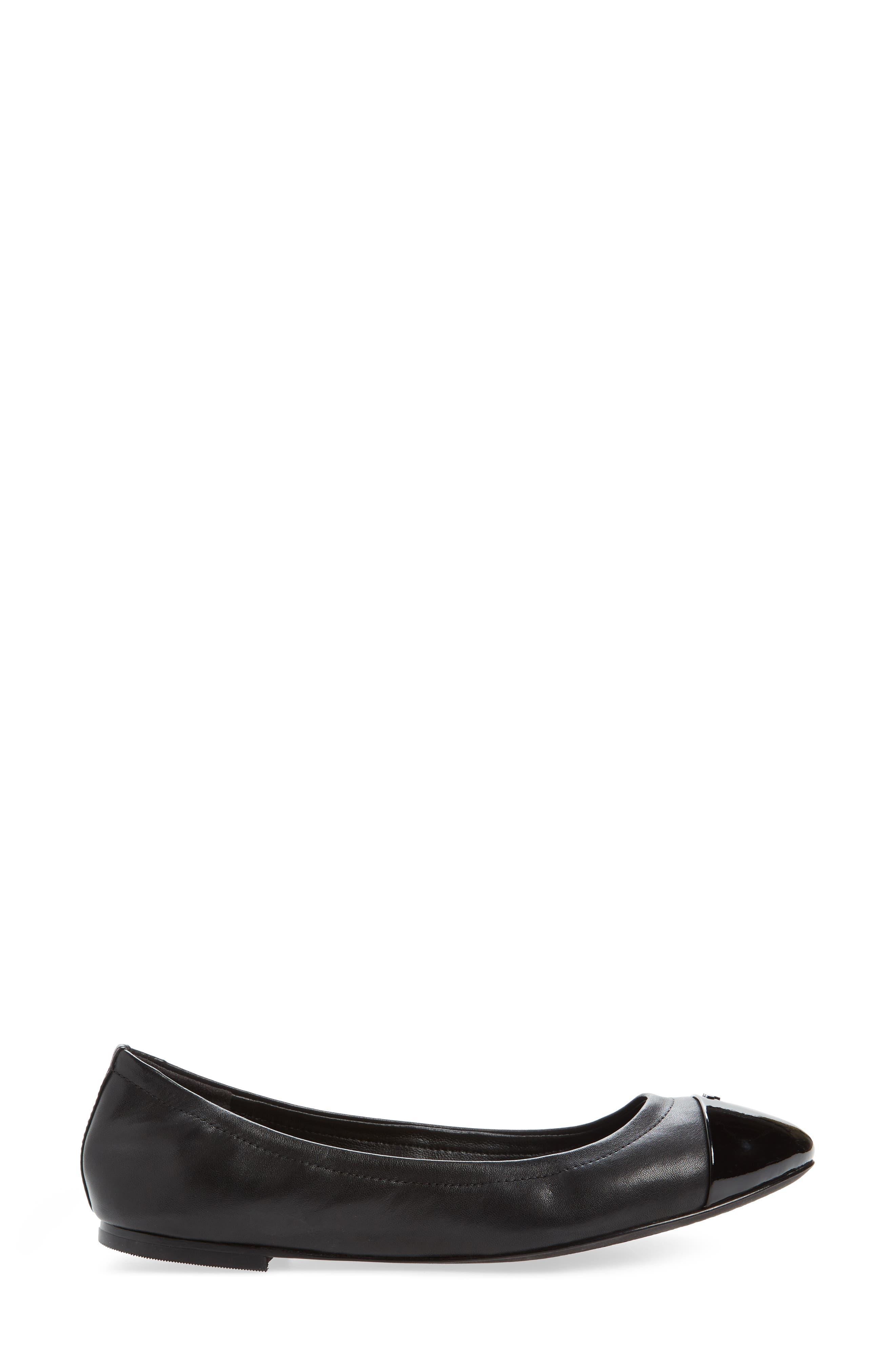Shelby Cap Toe Ballet Flat,                             Alternate thumbnail 3, color,                             Black/ Black