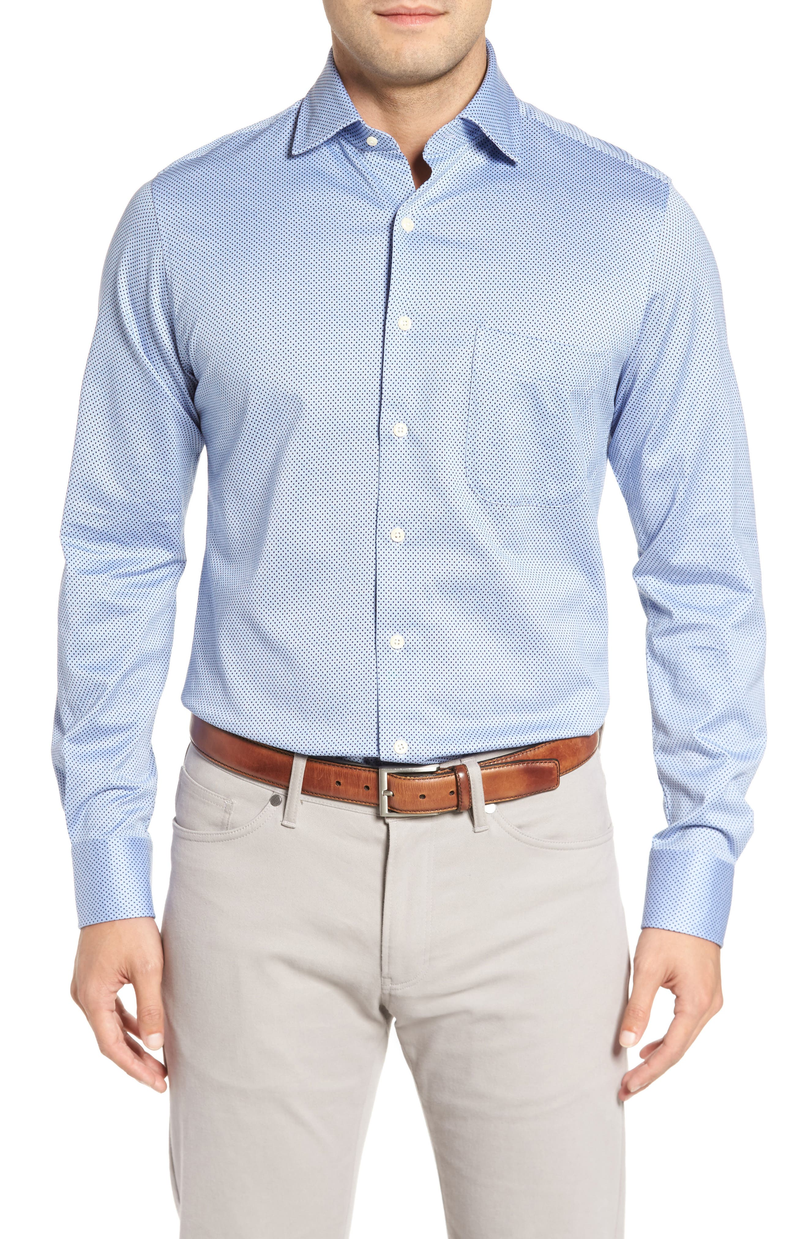 Mesh Dot Classic Fit Sport Shirt,                         Main,                         color, Tar Heel Blue