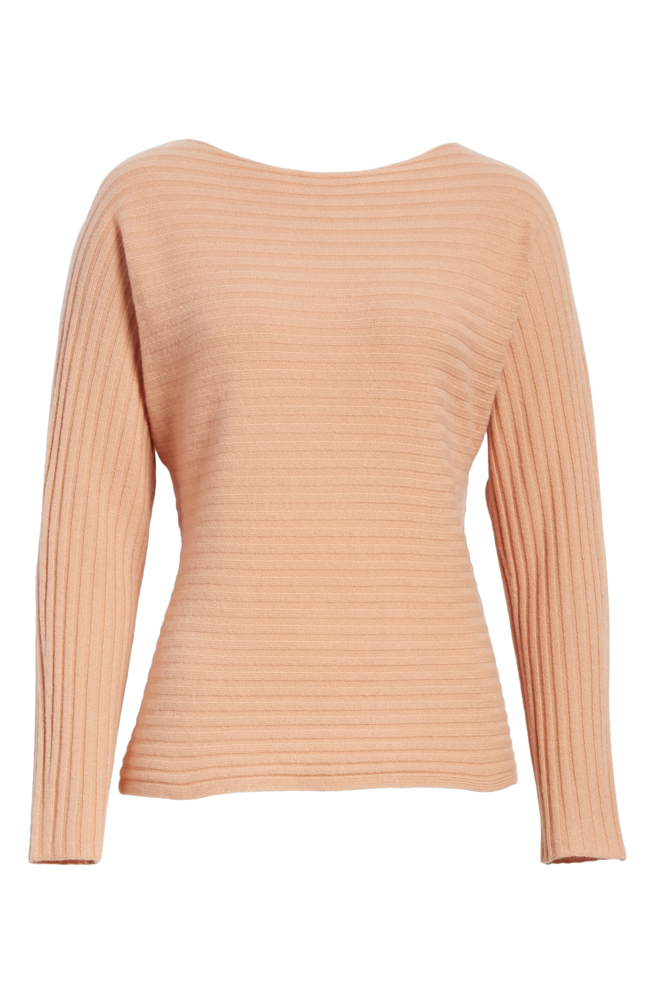 Tie Back Wool & Cashmere Sweater,                             Alternate thumbnail 6, color,                             Blush