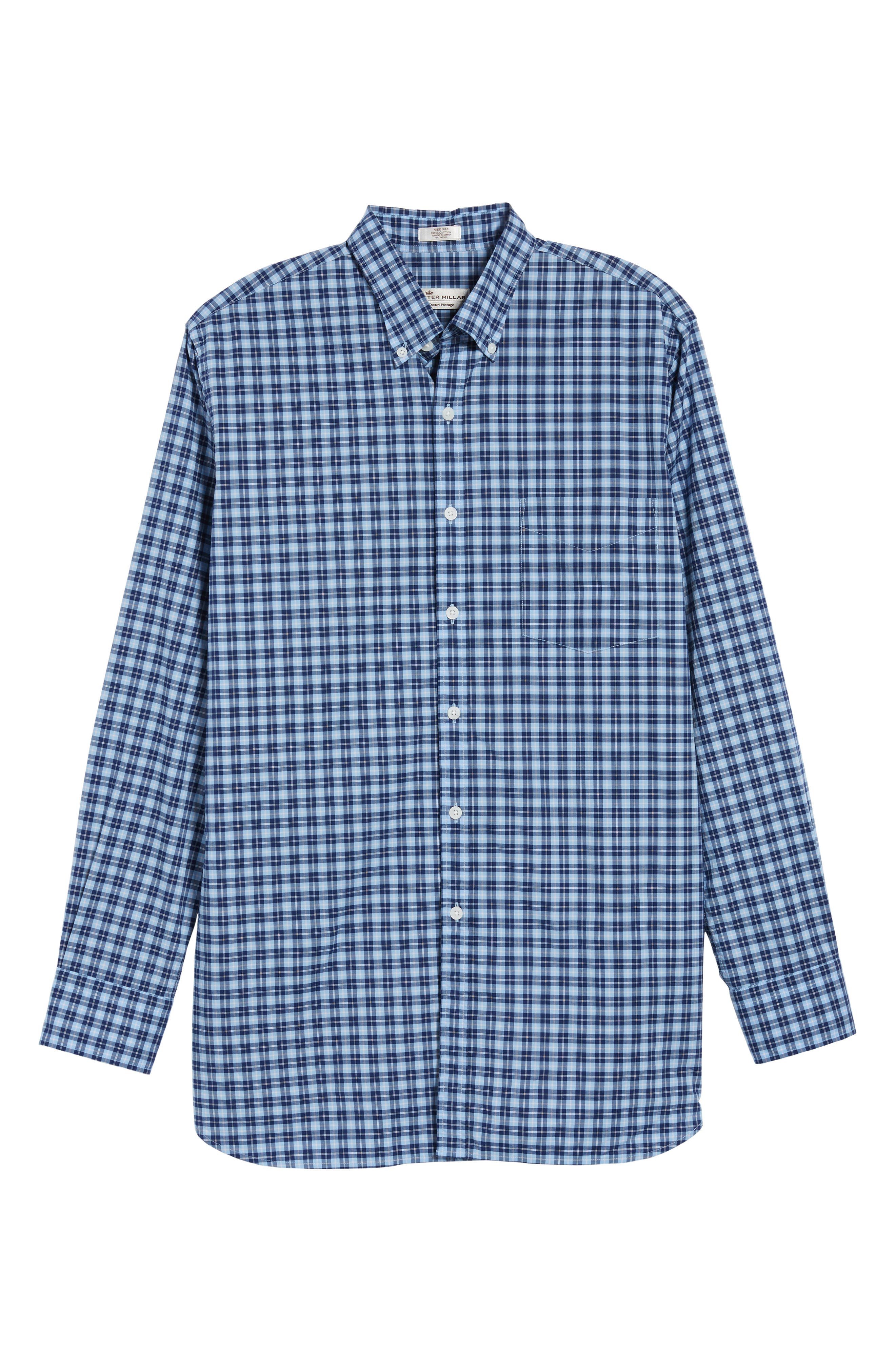 Crown Vintage Regular Fit Mini Plaid Sport Shirt,                             Alternate thumbnail 6, color,                             Tahoe Blue