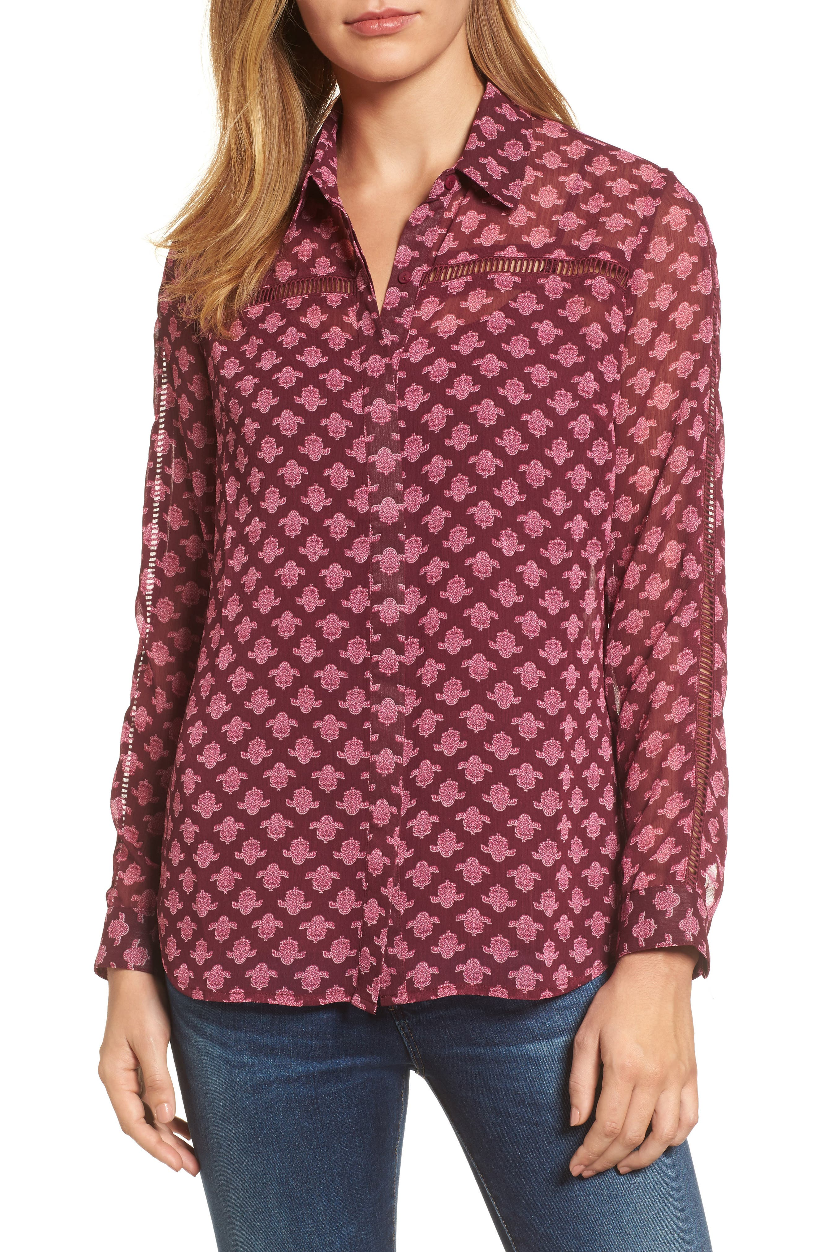 Eve Print Semi-Sheer Blouse,                             Main thumbnail 1, color,                             Dark Berry
