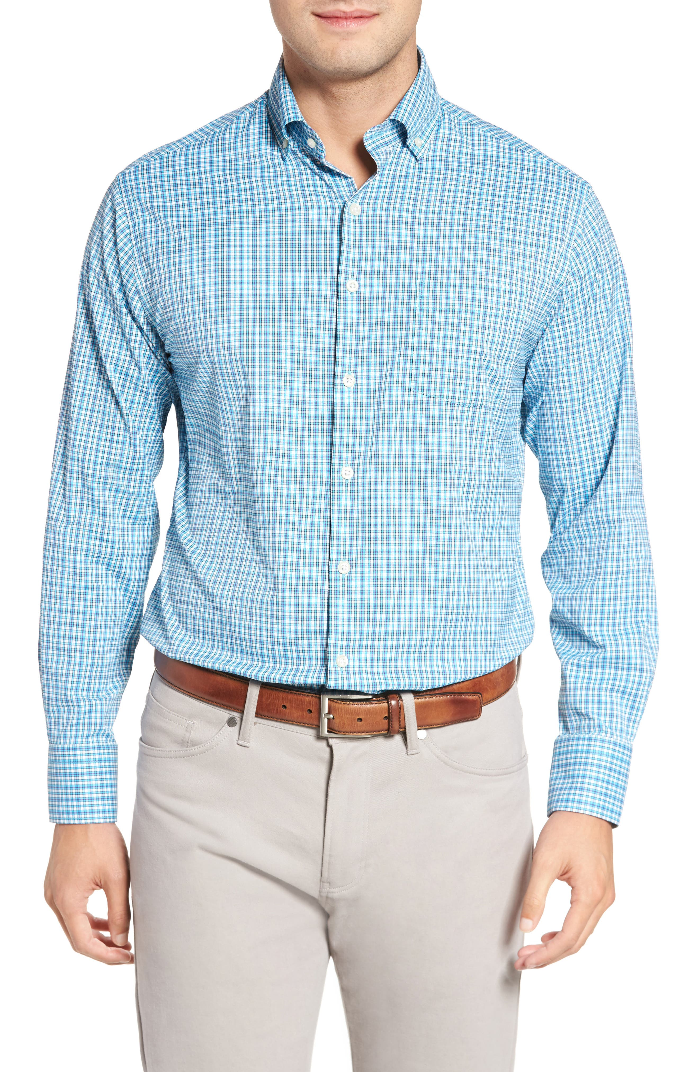 Barber Regular Fit Check Performance Sport Shirt,                         Main,                         color, Blue Fish