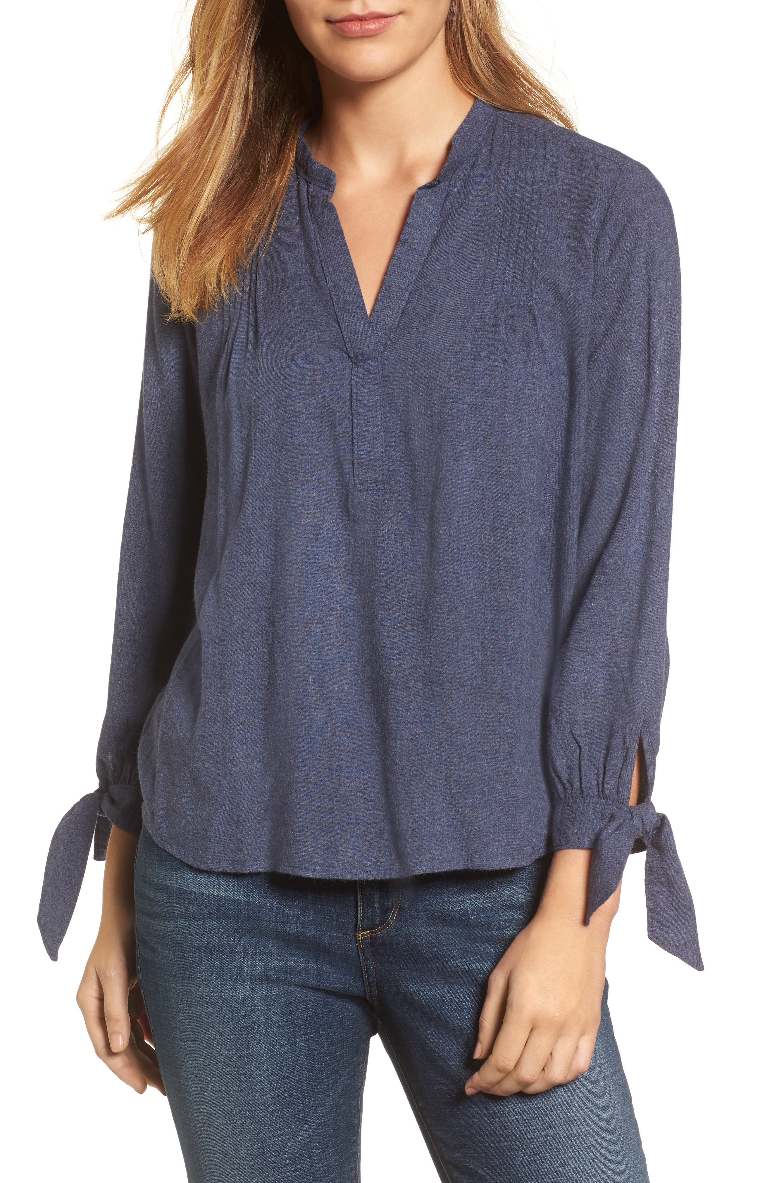 Tie Sleeve Top,                             Main thumbnail 1, color,                             Navy Heather