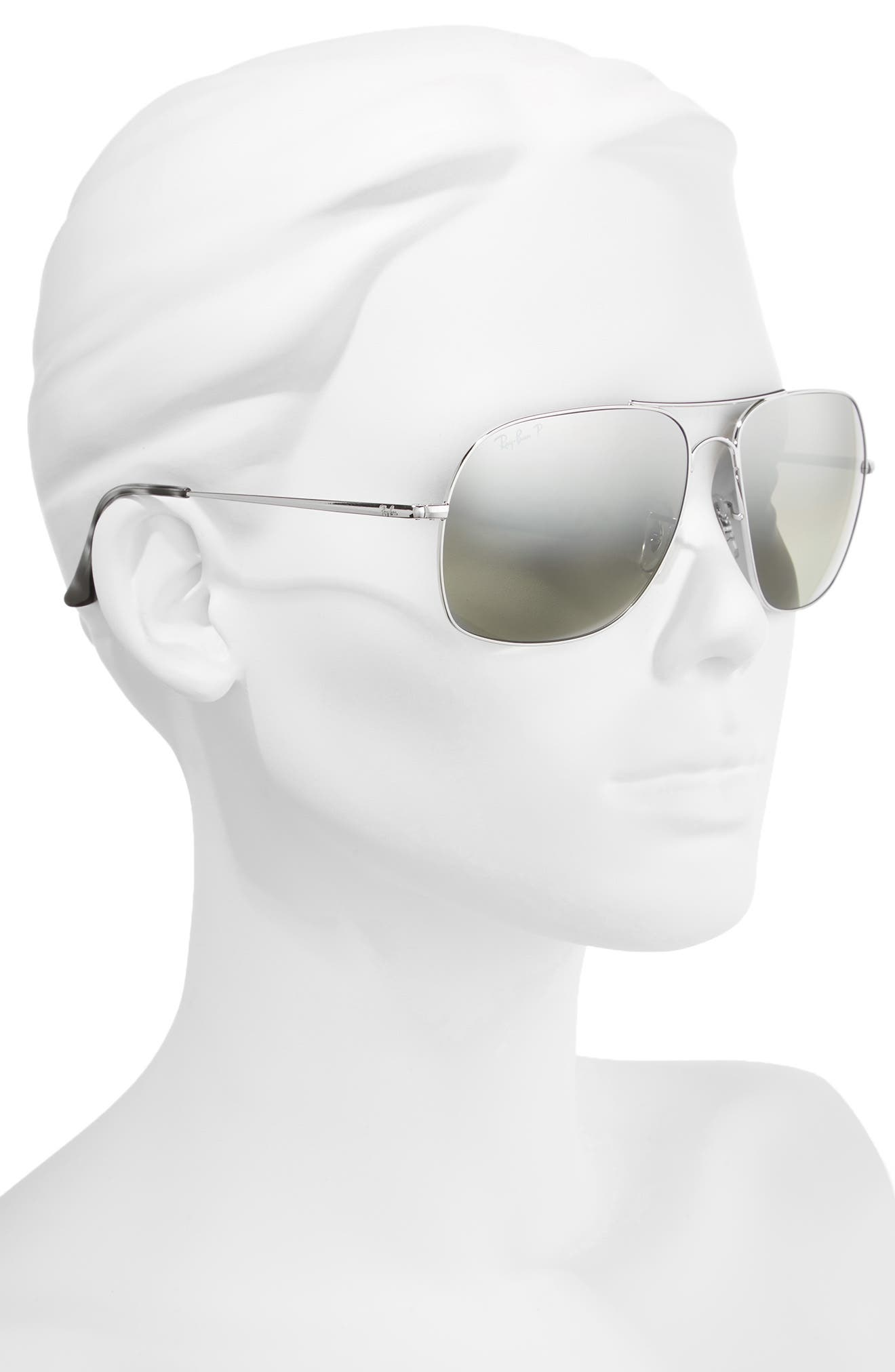 61mm Mirrored Lens Polarized Aviator Sunglasses,                             Alternate thumbnail 2, color,                             Silver