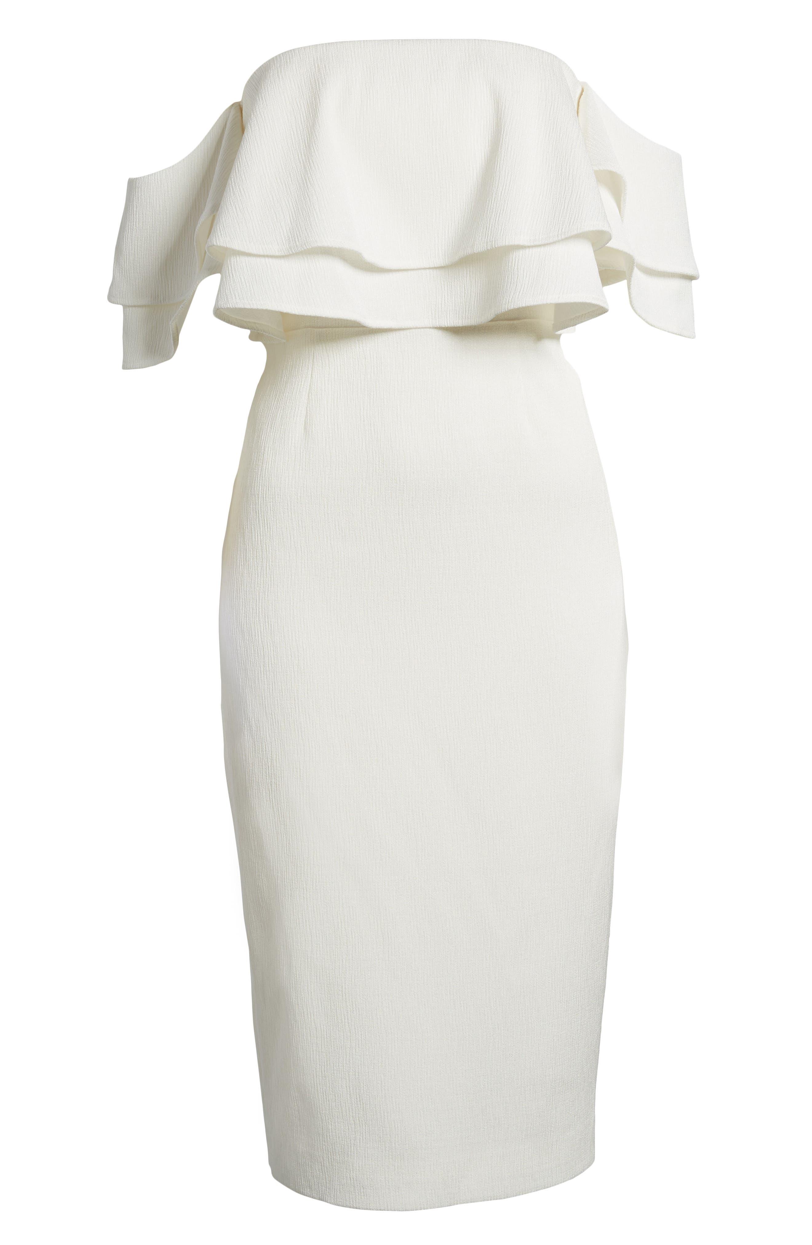 No Reason Off the Shoulder Sheath Dress,                             Alternate thumbnail 6, color,                             Ivory