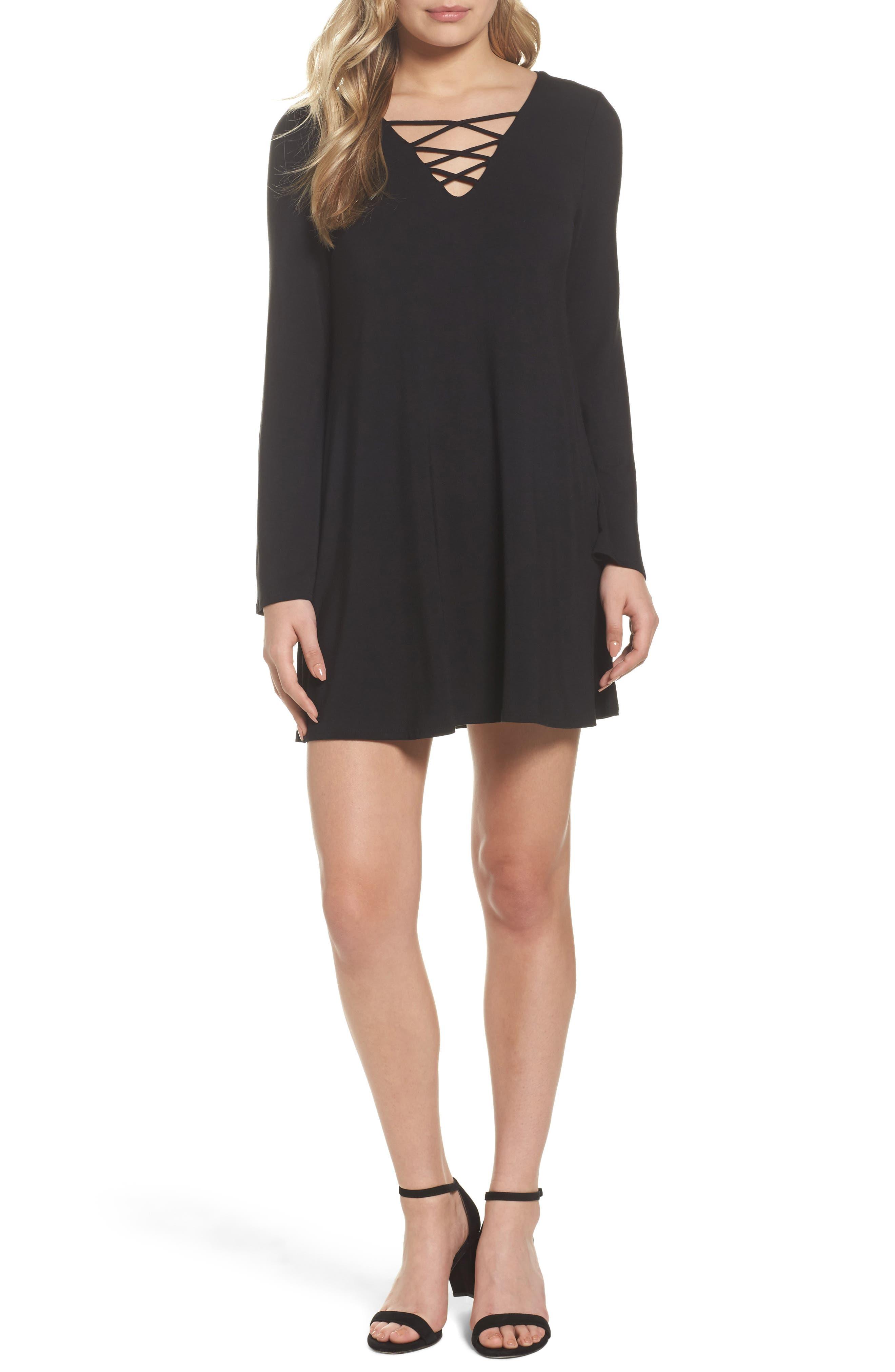 Crisscross Shift Dress,                         Main,                         color, Black