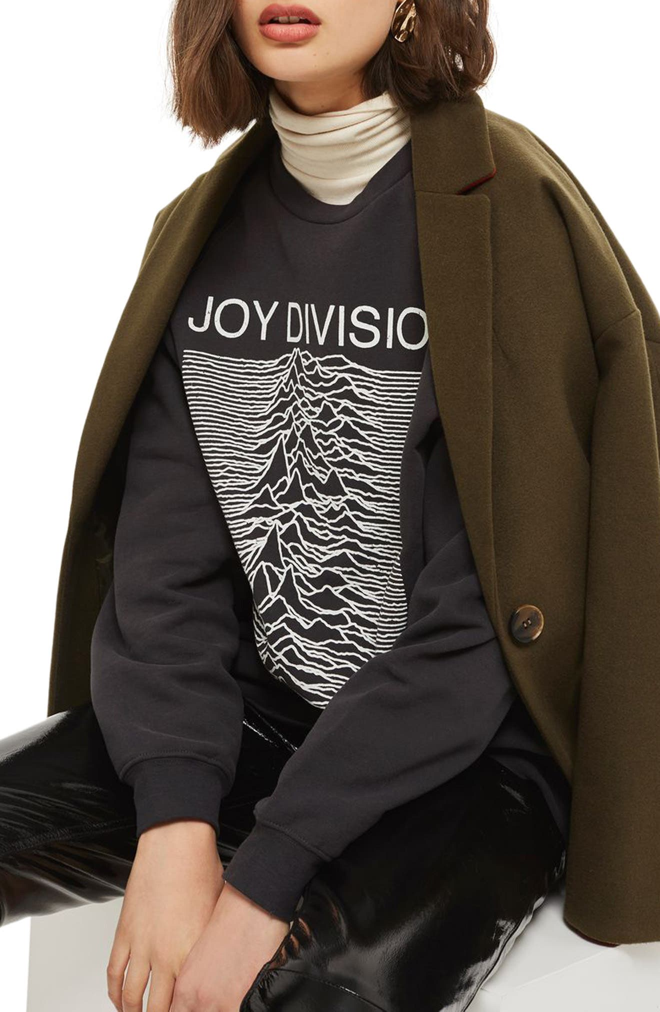 by And Finally Joy Division Sweatshirt,                         Main,                         color, Washed Black Multi