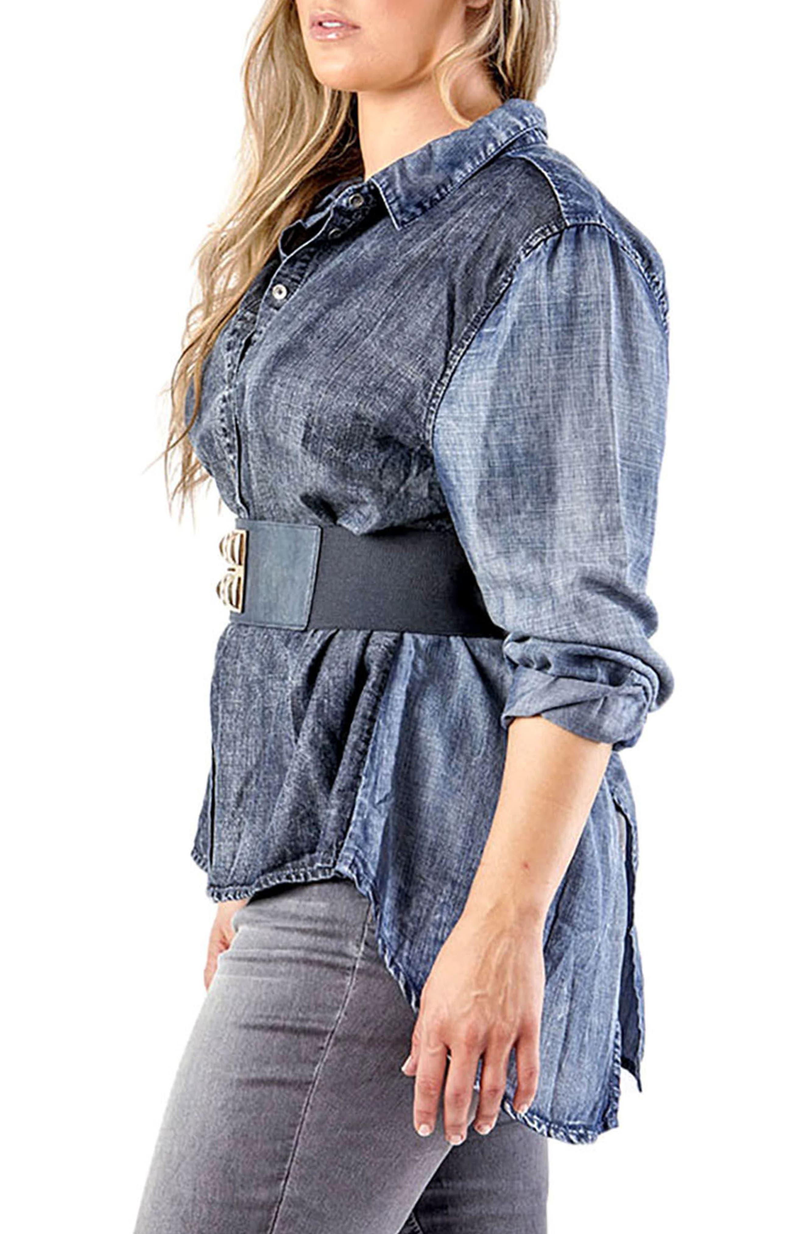 Kristine Tencel<sup>®</sup> Denim Shirt,                             Alternate thumbnail 3, color,                             Crossover