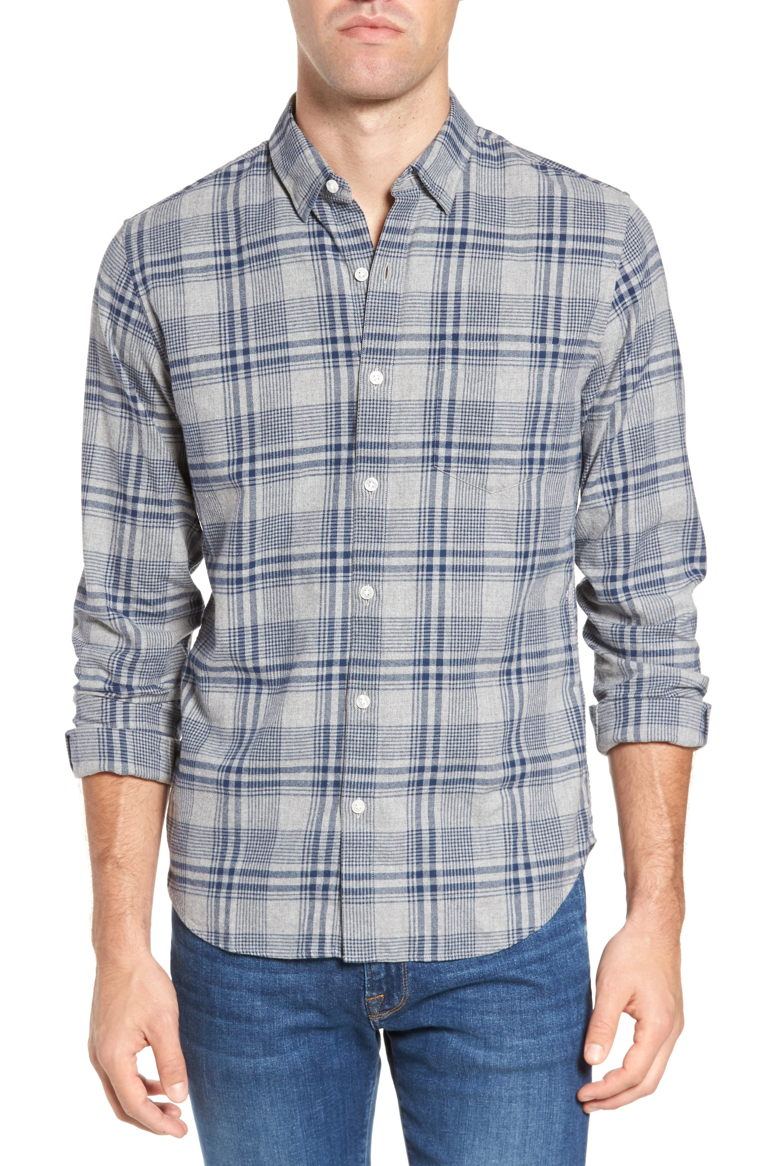 Slim Fit Brushed Plaid Sport Shirt,                             Main thumbnail 1, color,                             Rivercrest Plaid Navy