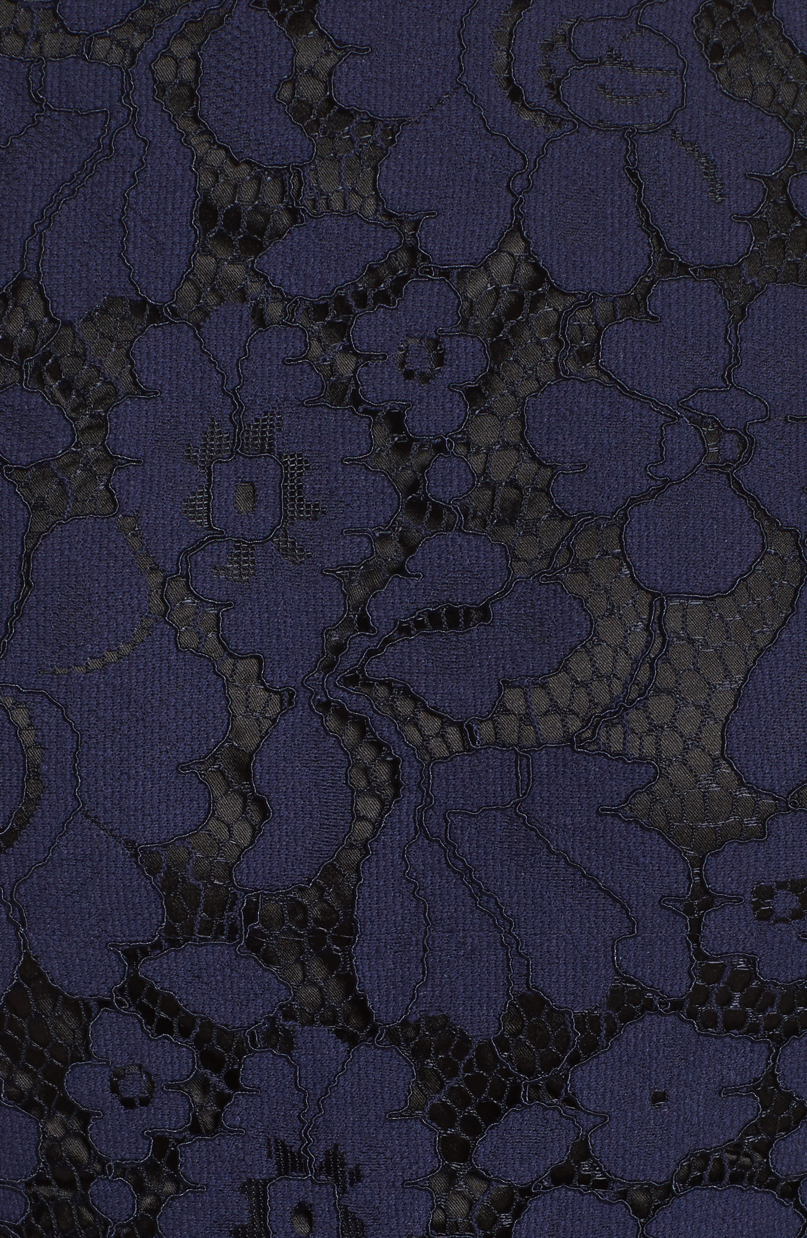 Bell Sleeve Lace Dress,                             Alternate thumbnail 5, color,                             Navy/ Black