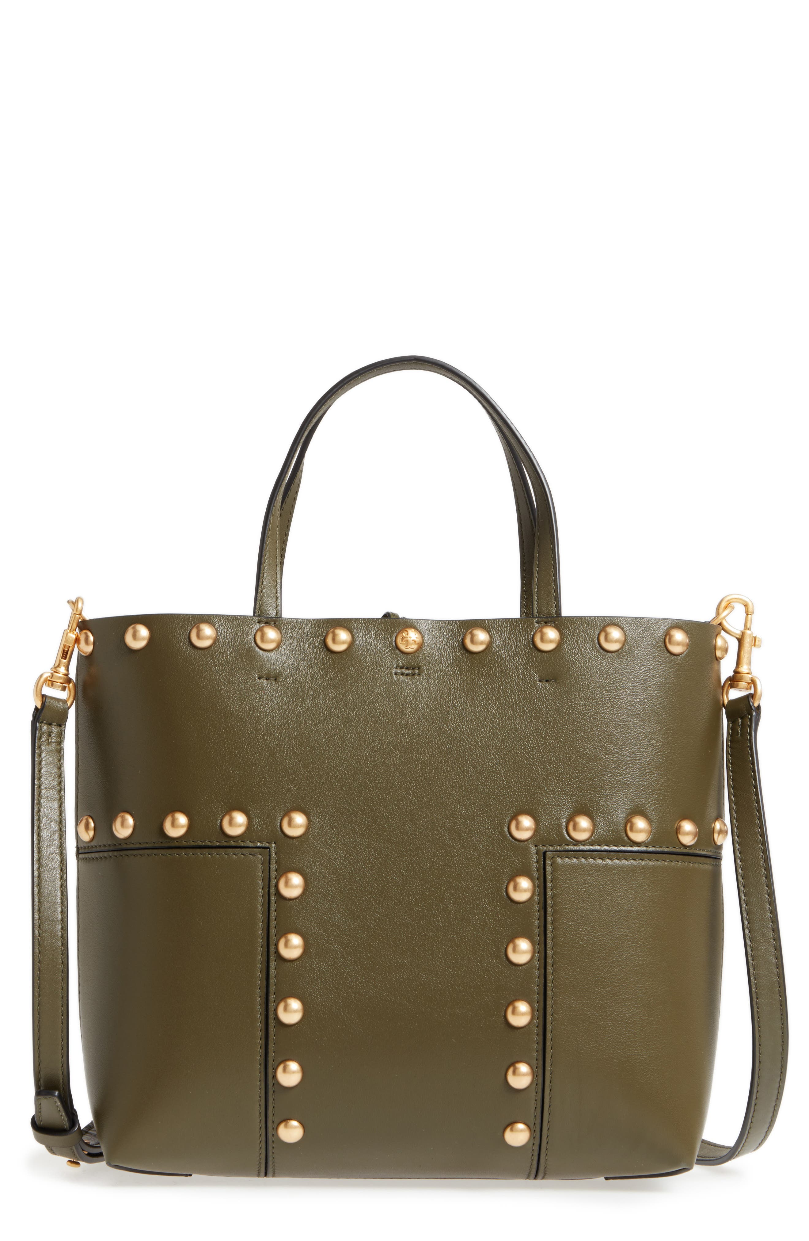 Block-T Mini Studded Leather Tote,                             Main thumbnail 1, color,                             Leccio