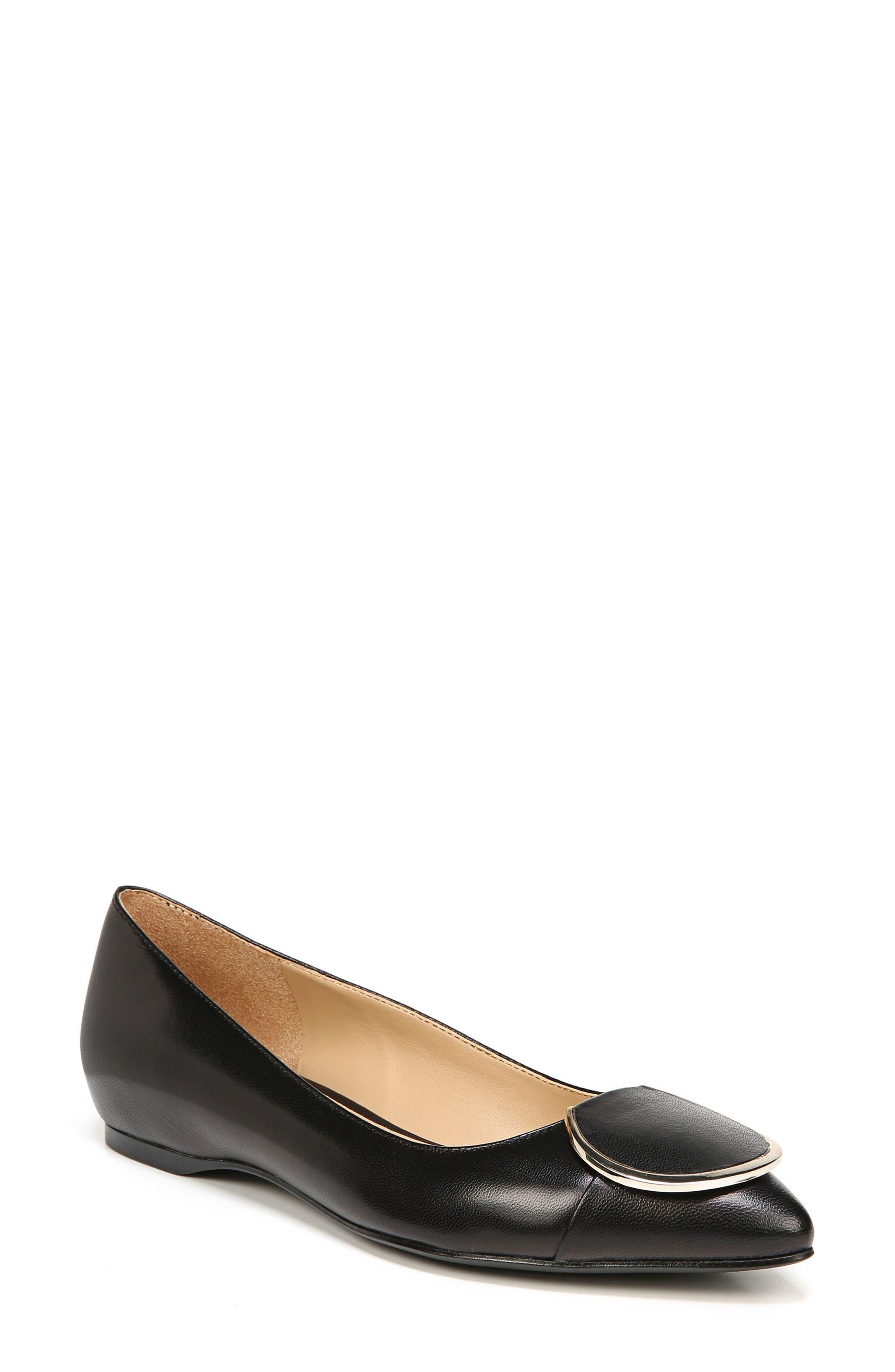Stella Flat,                         Main,                         color, Black Leather