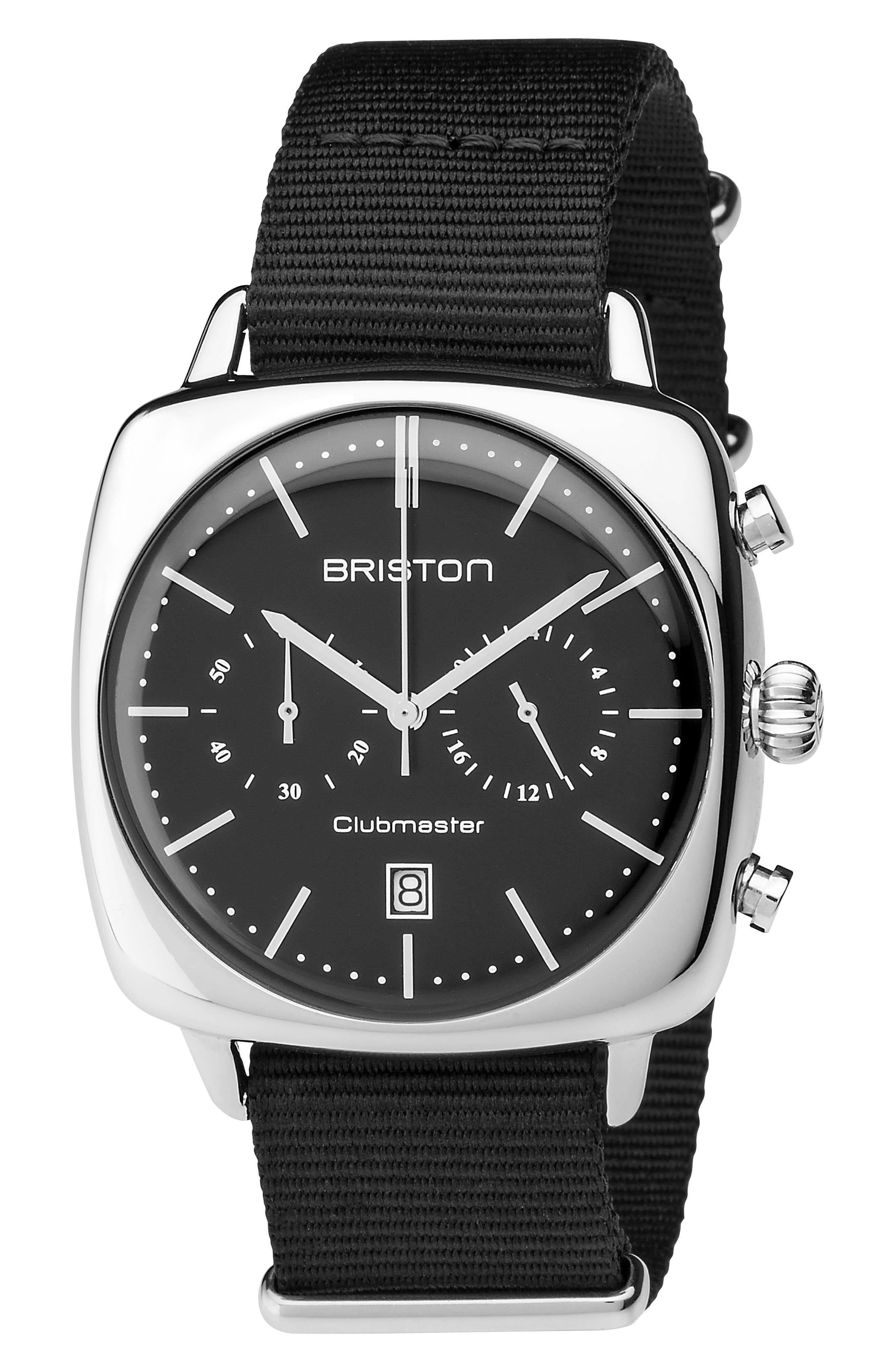 Main Image - Briston Watches Clubmaster Vintage Chronograph Nylon Strap Watch, 40mm