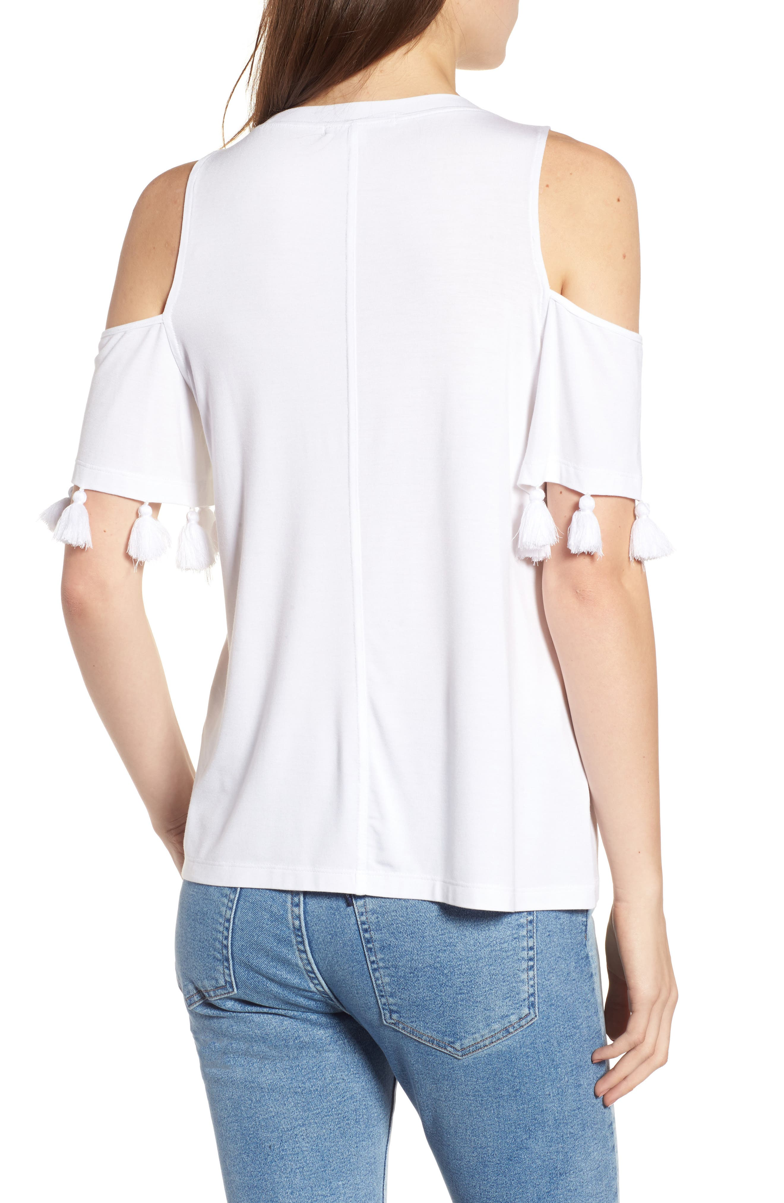 Theora Cold Shoulder Tee,                             Alternate thumbnail 2, color,                             White