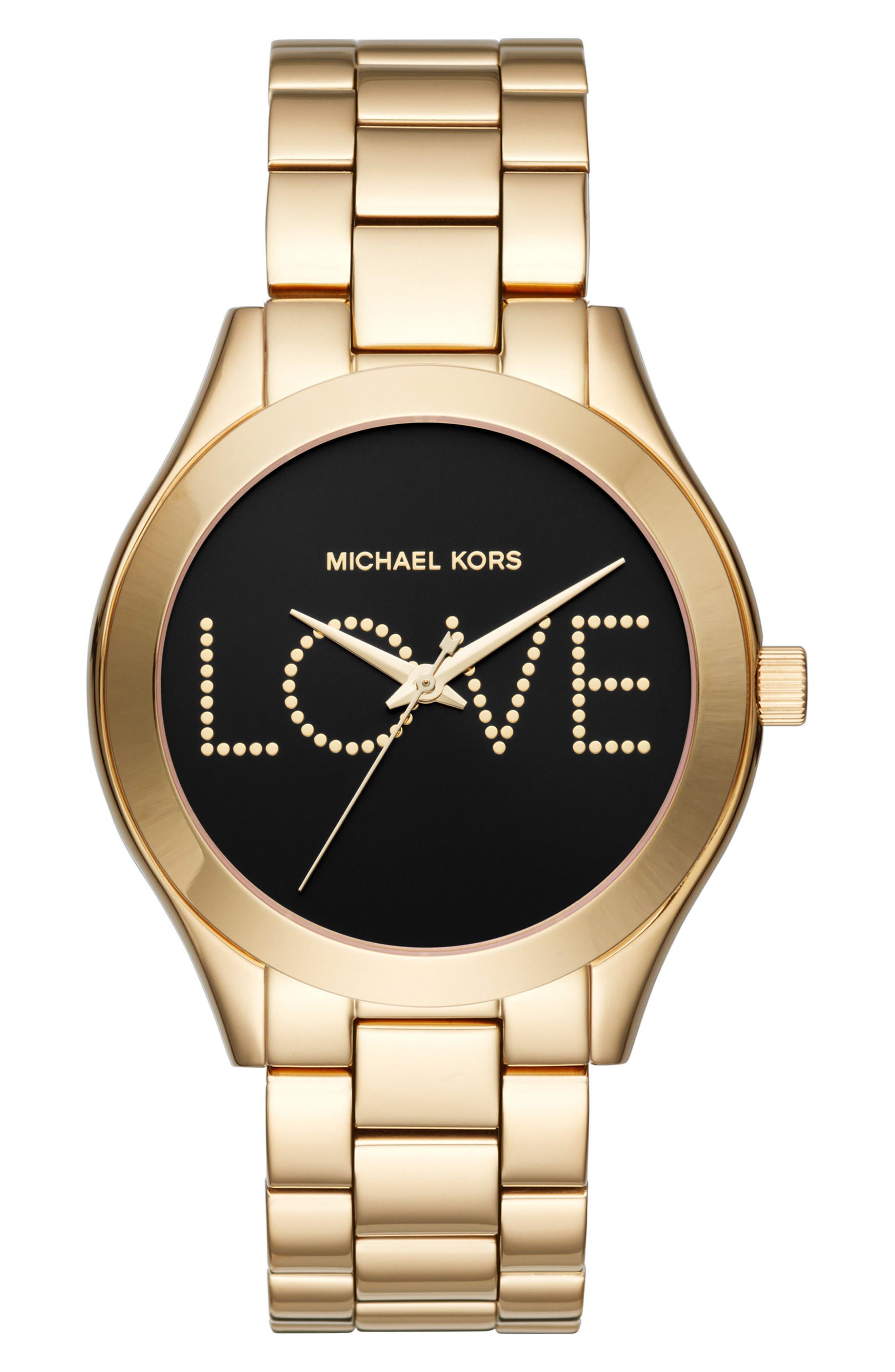 Slim Runway Love Bracelet Watch, 42mm,                         Main,                         color, Gold/ Black/ Gold