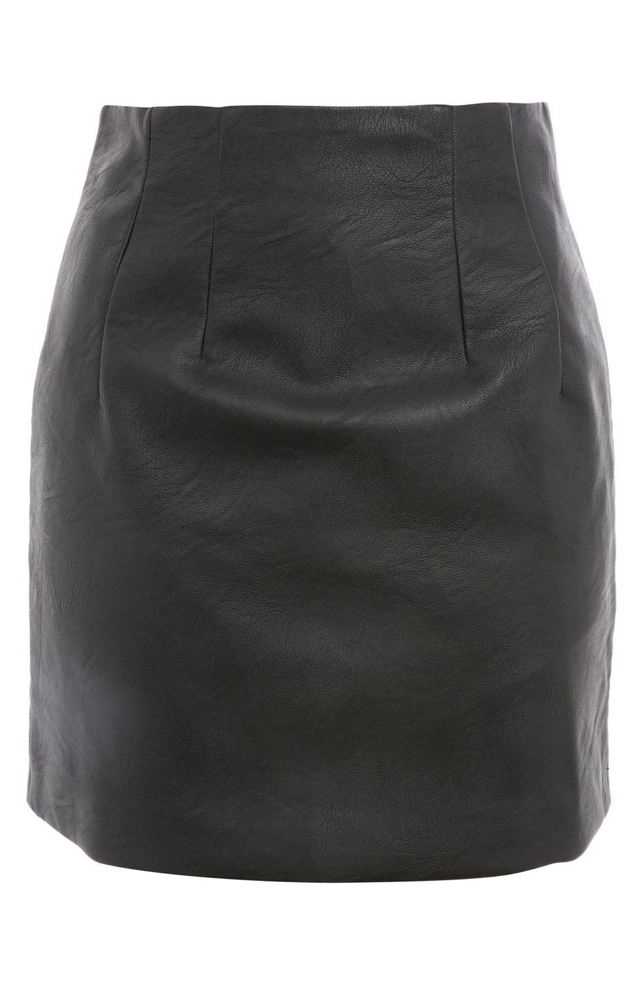 Faux Leather Pencil Miniskirt,                             Alternate thumbnail 3, color,                             Black