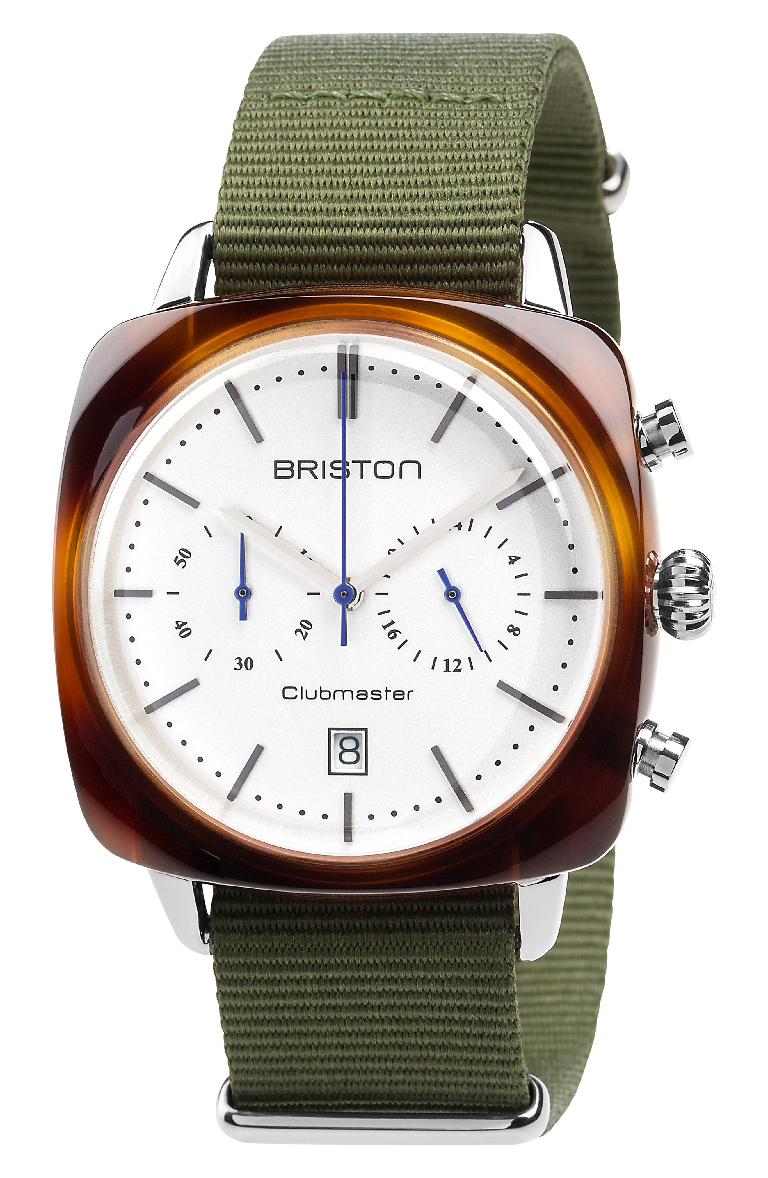 Main Image - Briston Watches Clubmaster Vintage Chronograph Nylon Strap Watch, 40mm x 40mm