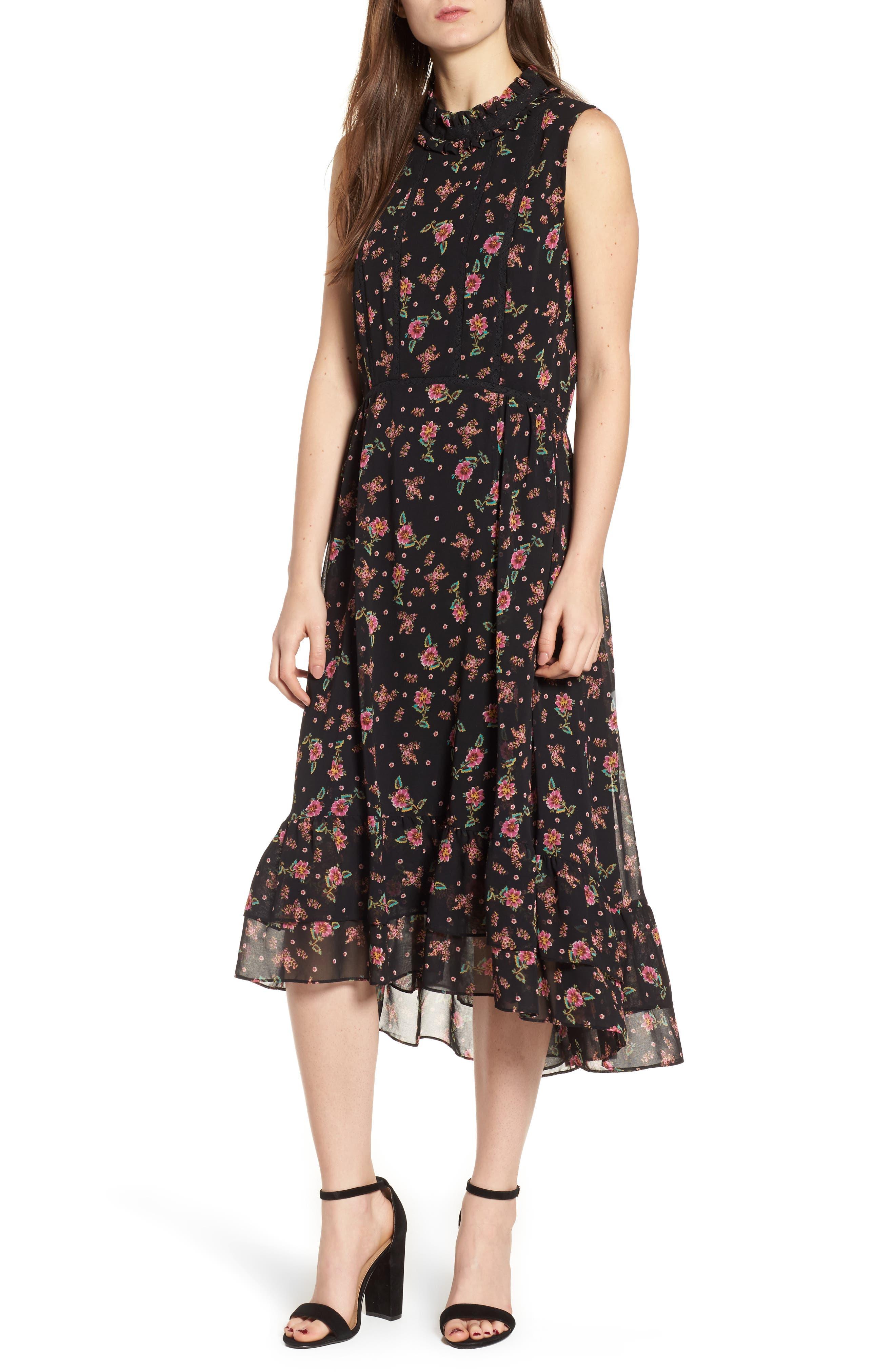 Harvey Midi Dress,                             Main thumbnail 1, color,                             Black Multi