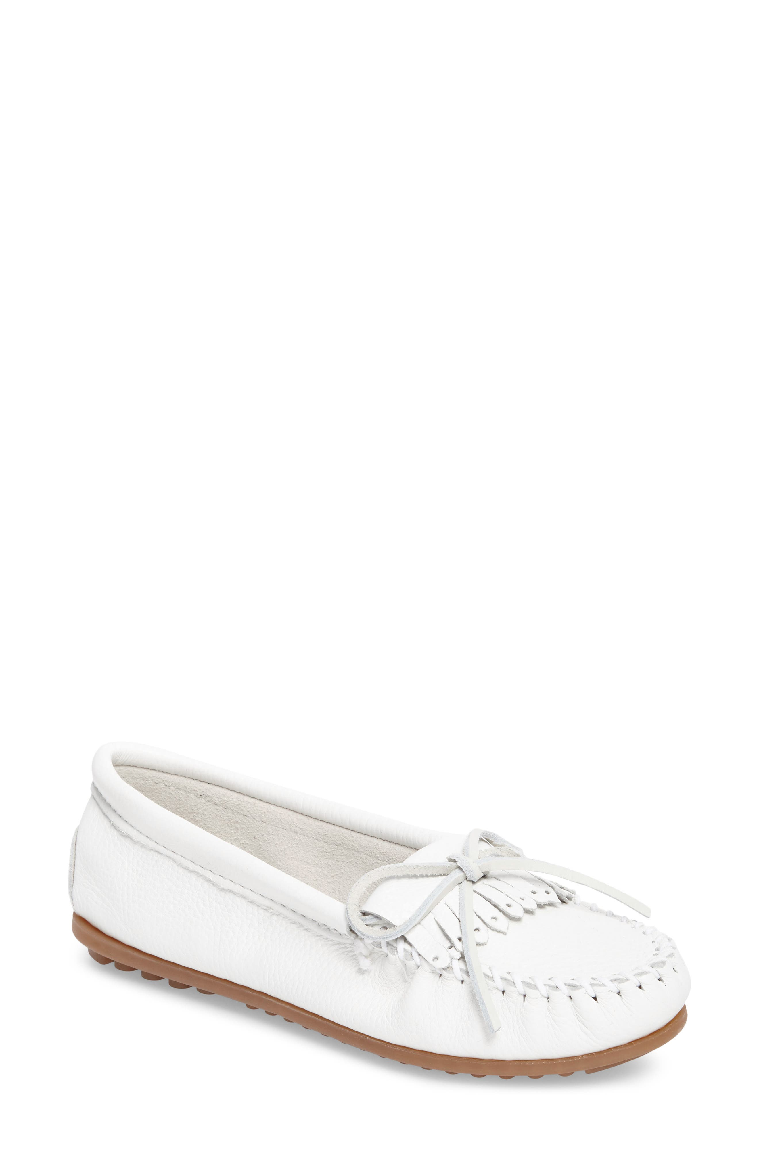 Kilty Moccasin,                         Main,                         color, White Leather