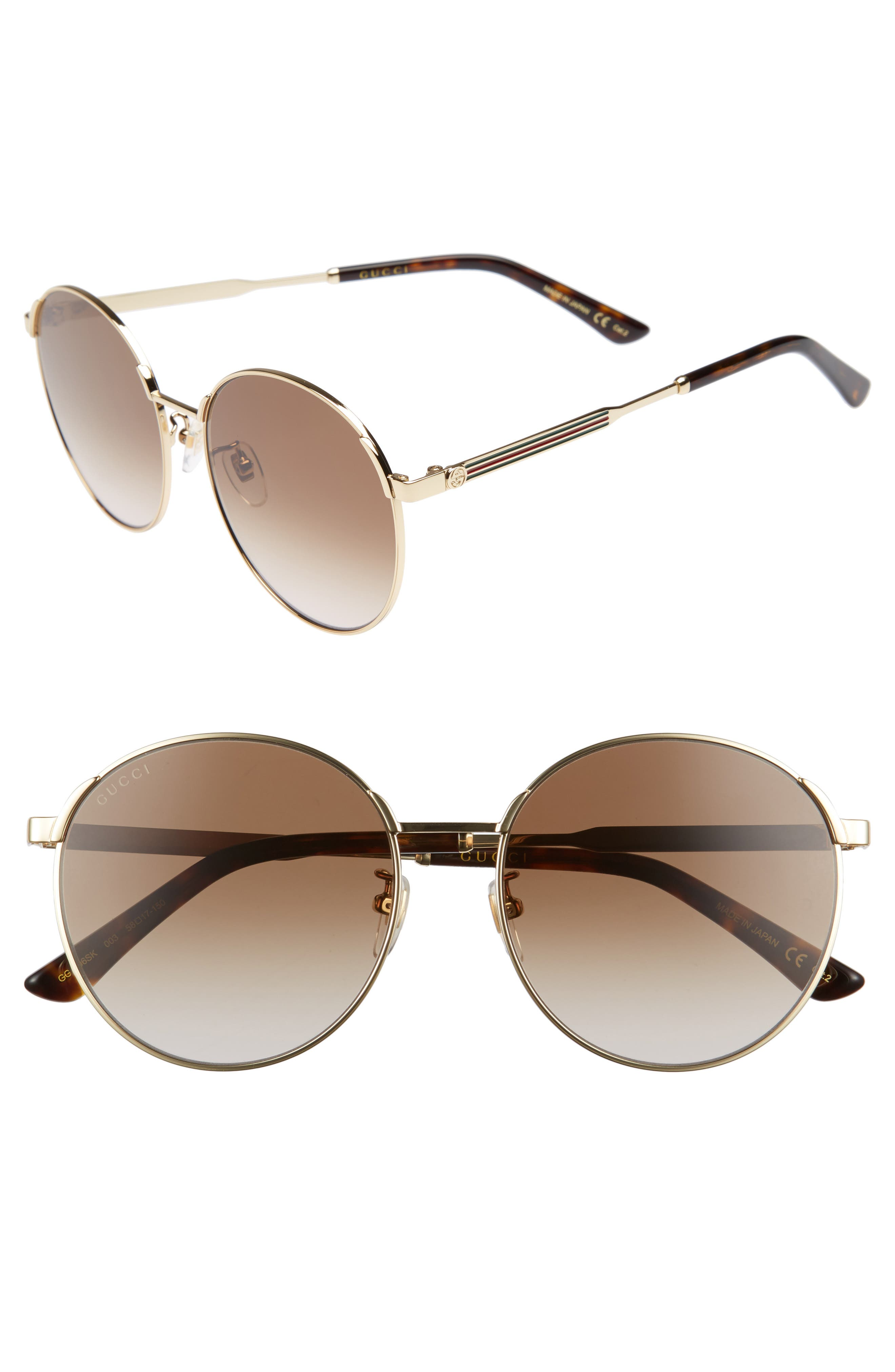 58mm Round Sunglasses,                             Main thumbnail 1, color,                             Gold/ Brown