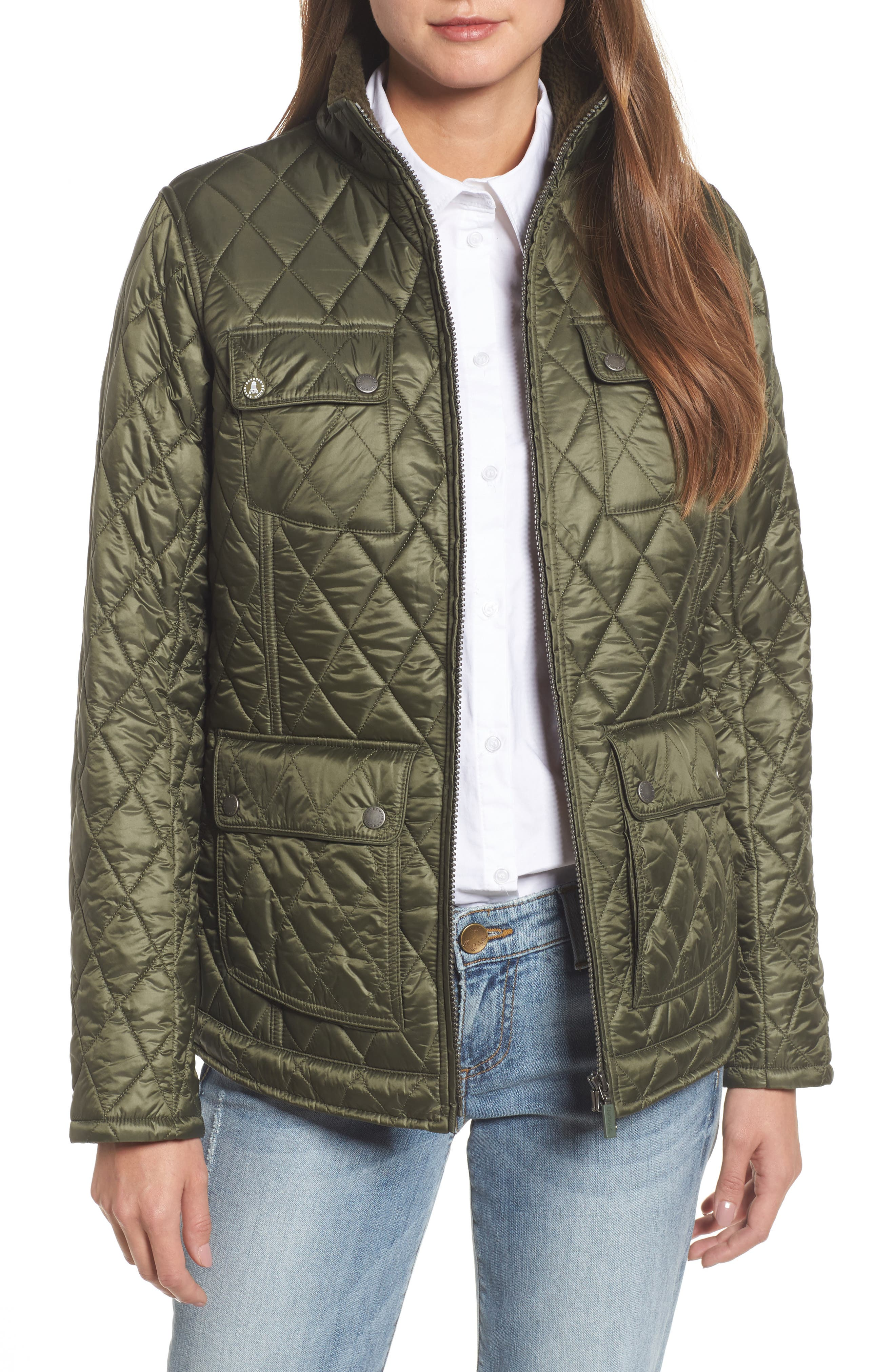 Filey Water Resistant Quilted Jacket,                             Main thumbnail 1, color,                             Olive
