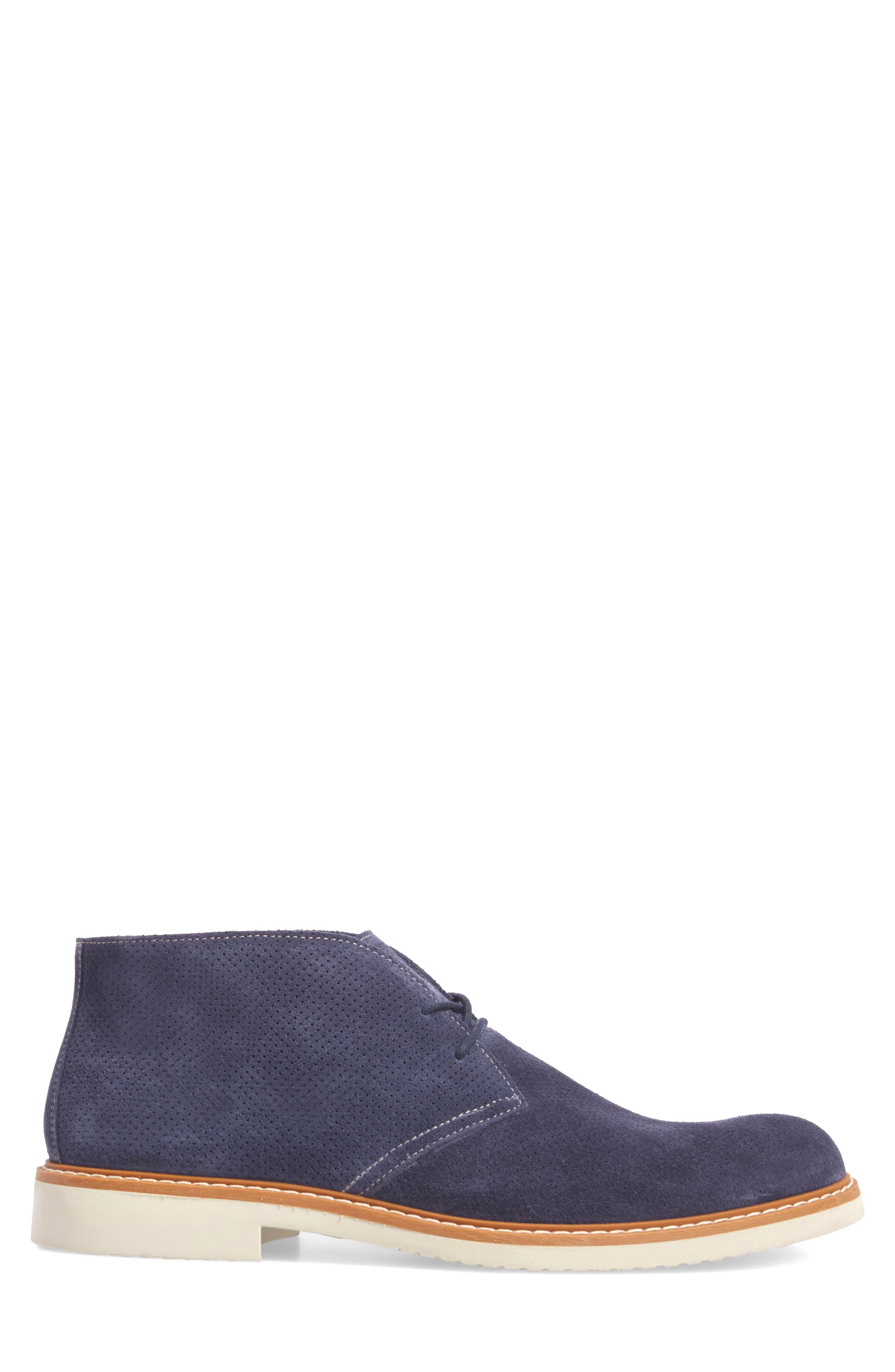 Bayside Perforated Chukka Boot,                             Alternate thumbnail 3, color,                             Blue Suede