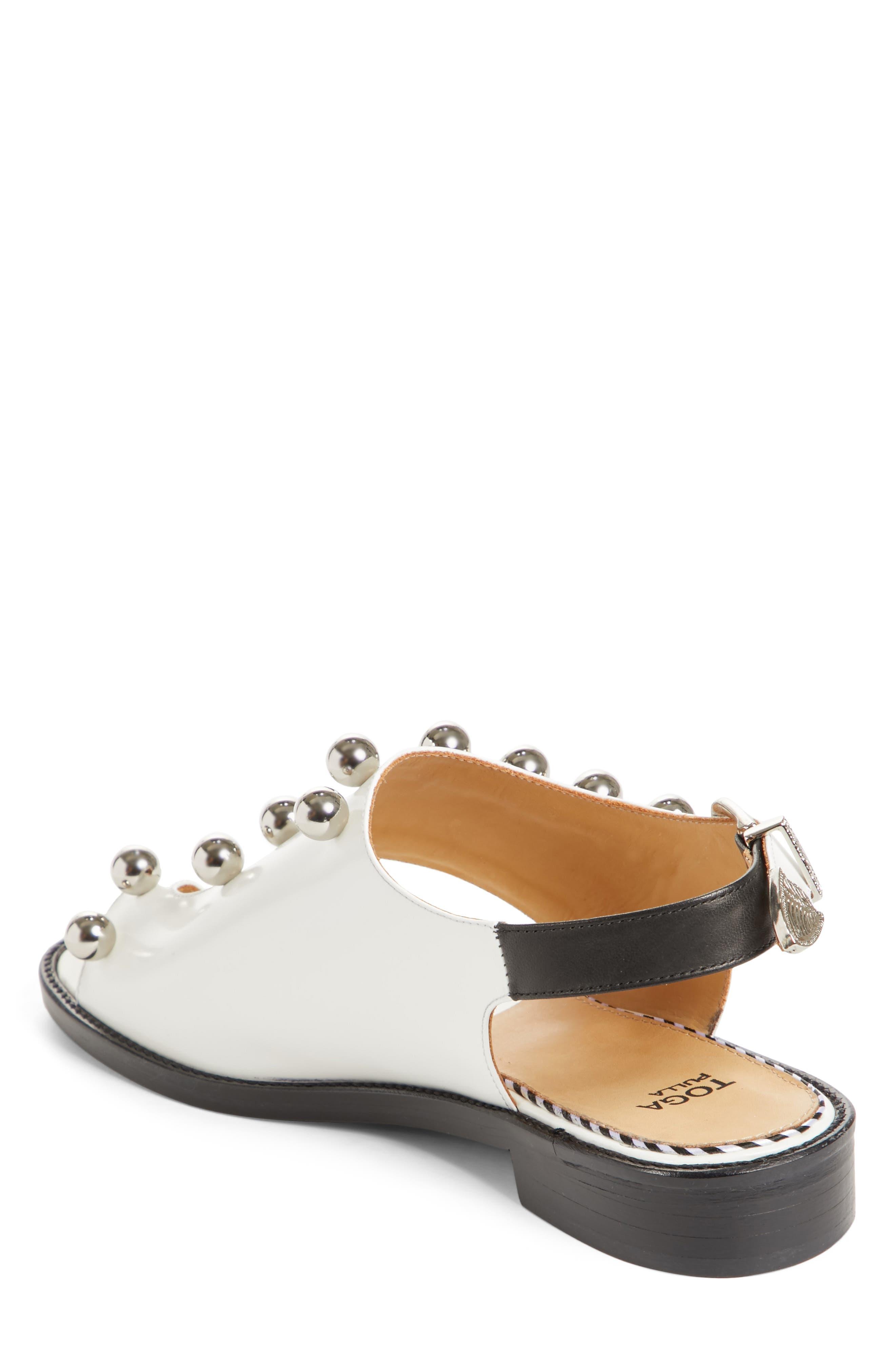 Round Stud Sandal,                             Alternate thumbnail 2, color,                             White Polido