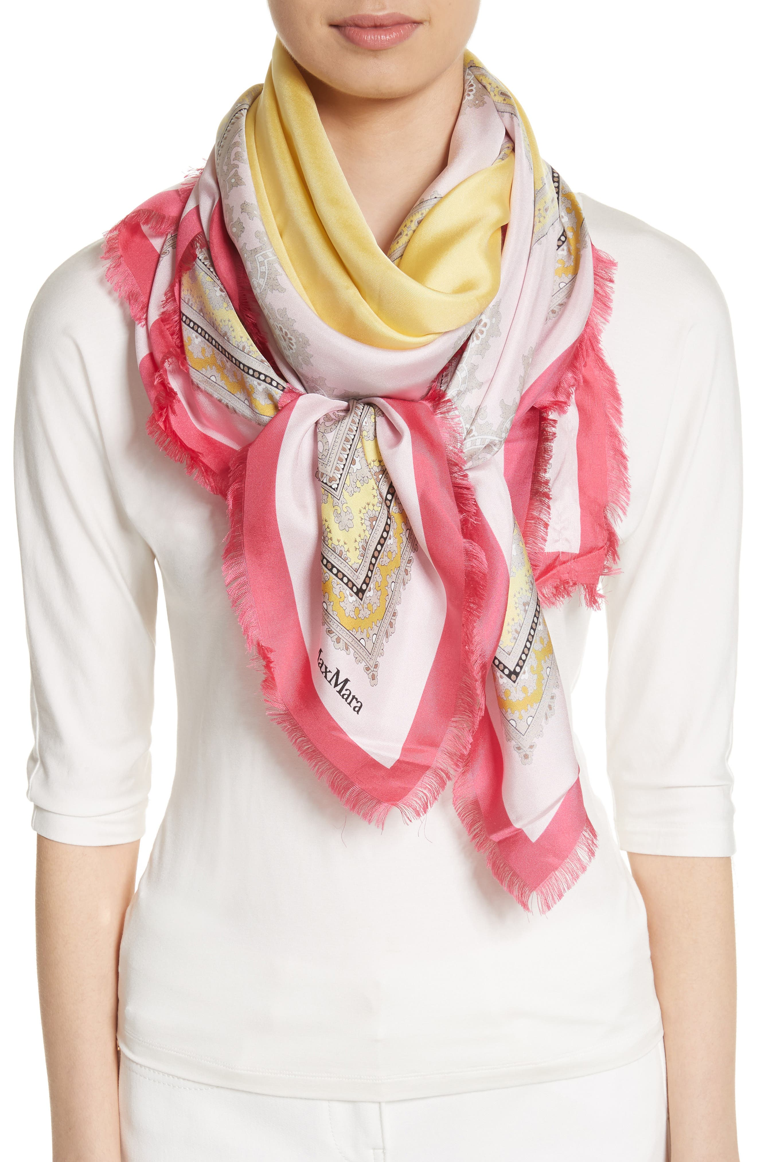 Ginepro Silk Scarf,                             Alternate thumbnail 2, color,                             Pink