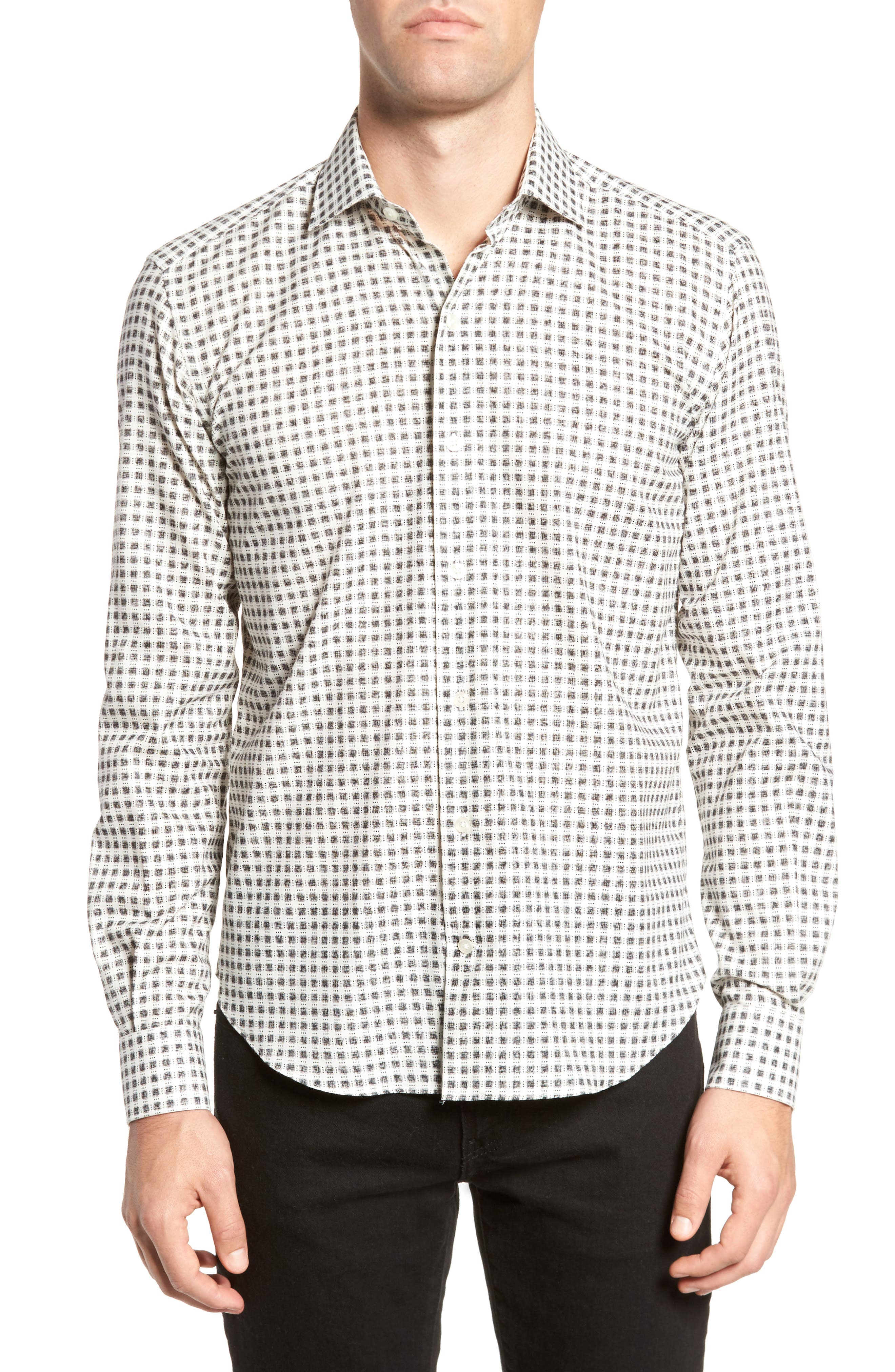 Square Print Sport Shirt,                         Main,                         color, White