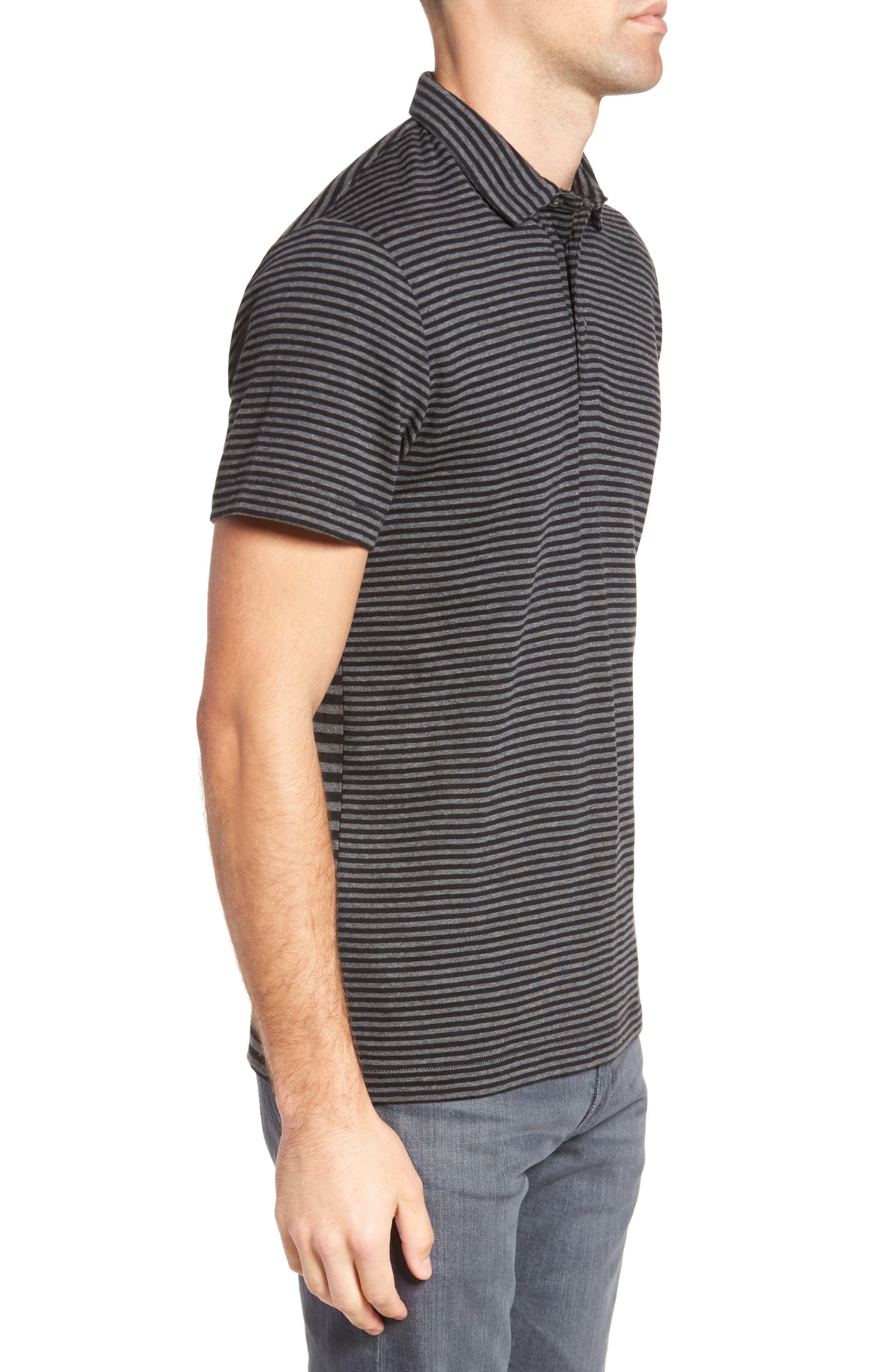 Alternative Stripe Short Sleeve Polo,                             Alternate thumbnail 3, color,                             Charcoal Melange/ Black