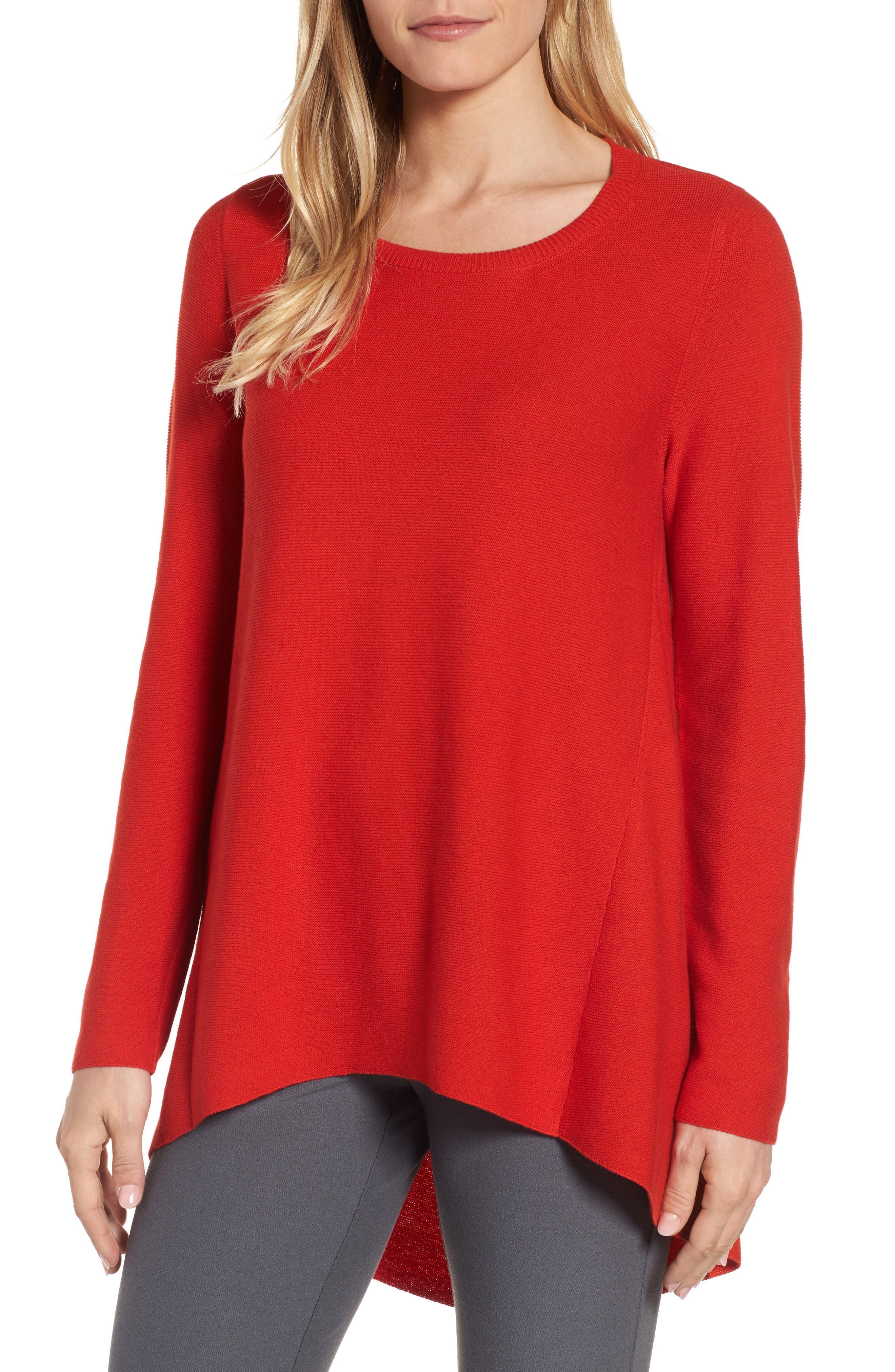 Alternate Image 1 Selected - Eileen Fisher Organic Cotton Tunic Sweater (Regular & Petite)