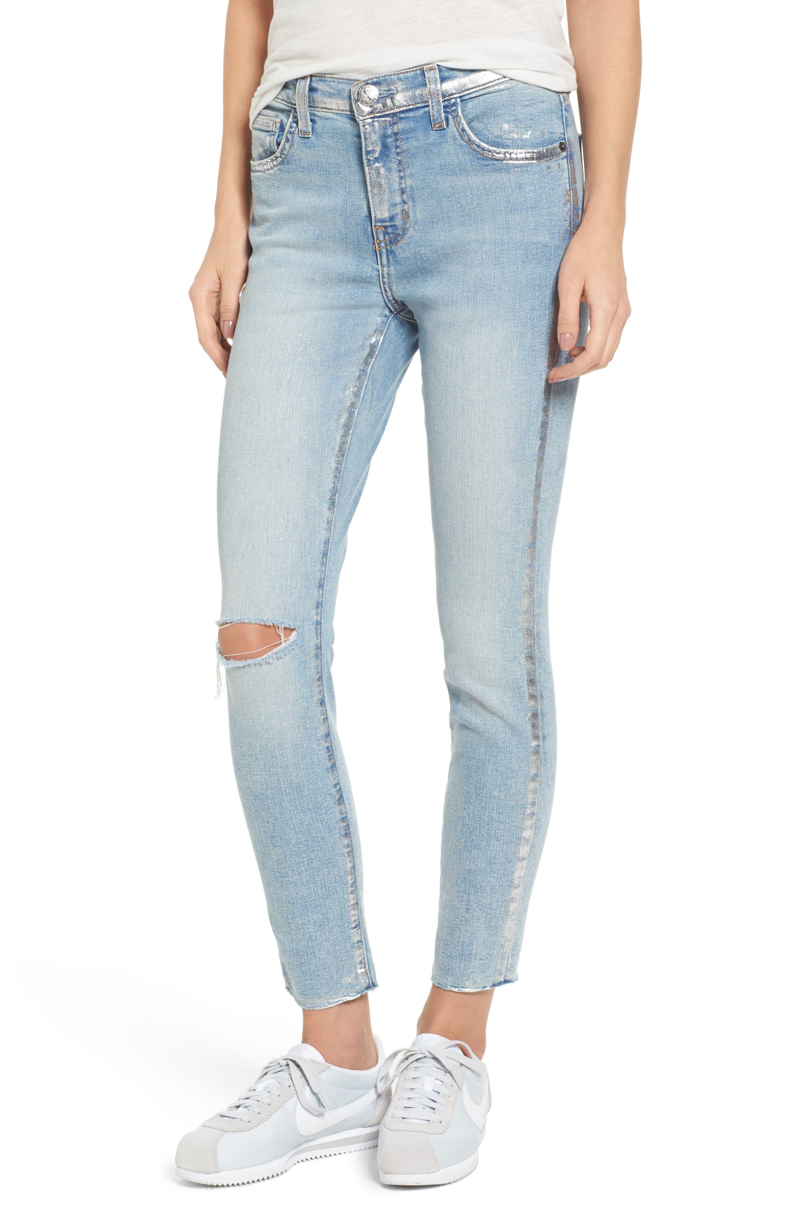 The Stiletto High Waist Skinny Jeans,                             Main thumbnail 1, color,                             Seville Destroy/ Foil