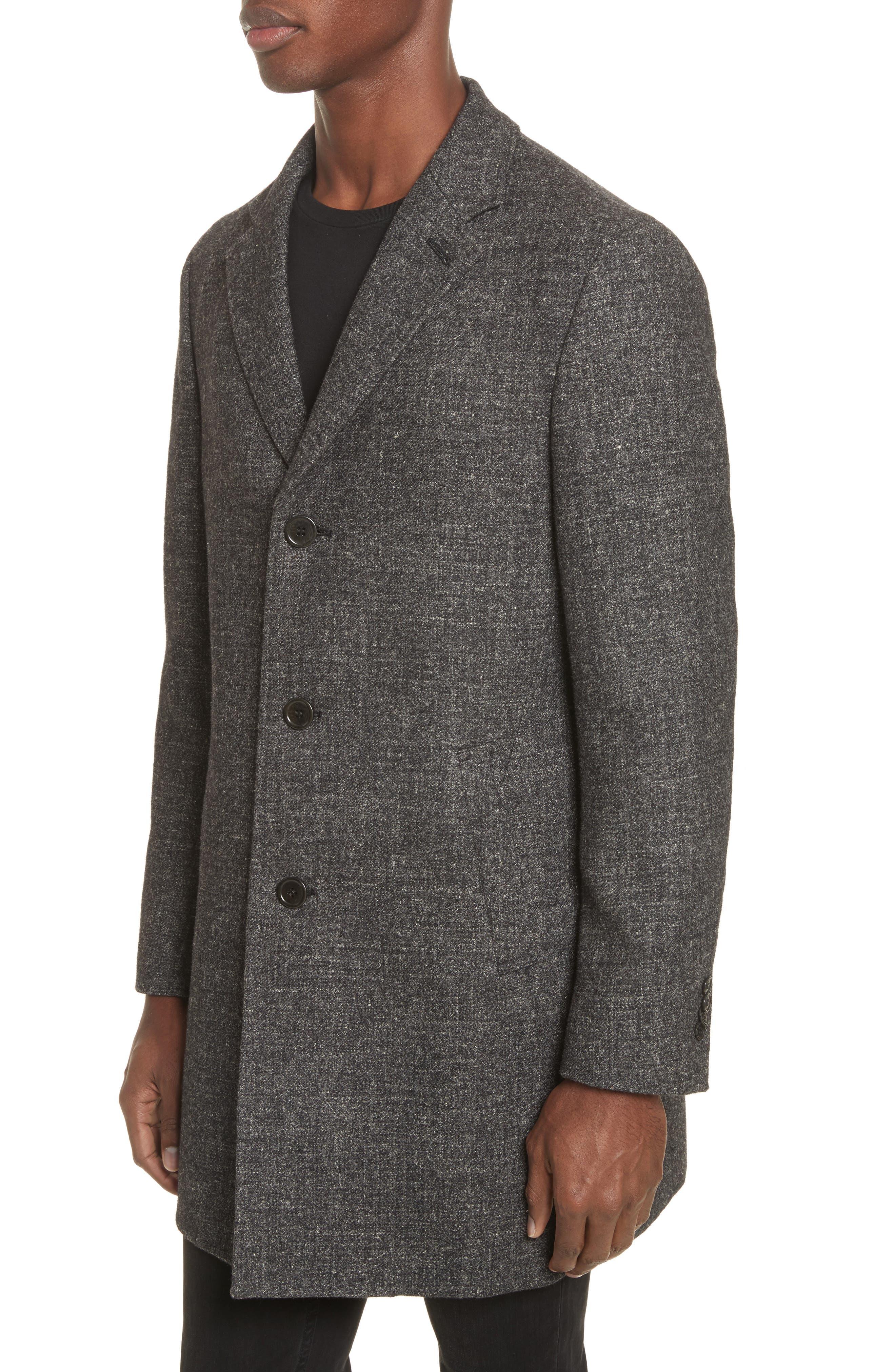 Walsh Wool & Linen Topcoat,                             Alternate thumbnail 4, color,                             Black/ Grey