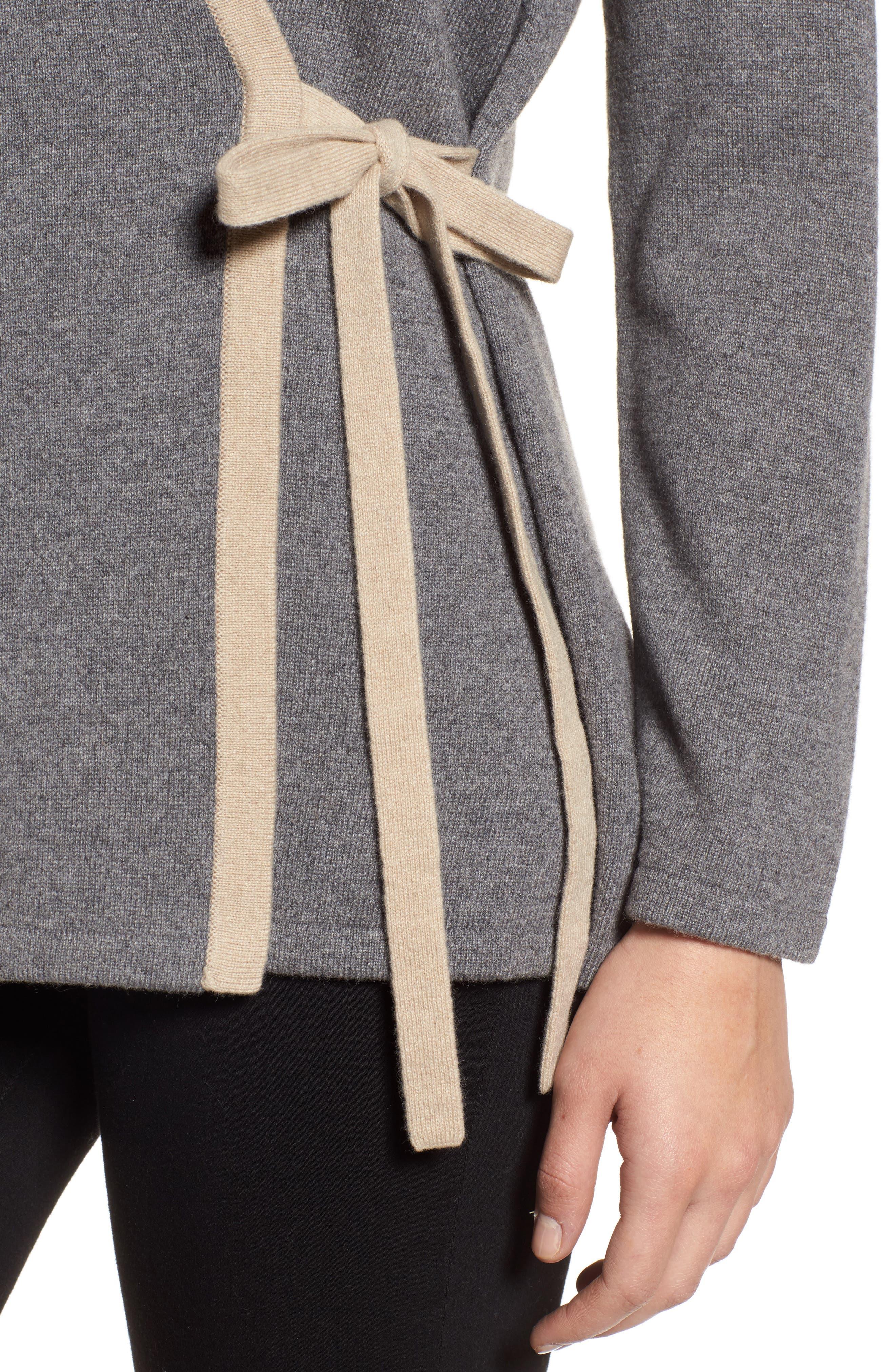Side Tie Cashmere Blend Cardigan,                             Alternate thumbnail 5, color,                             Ash