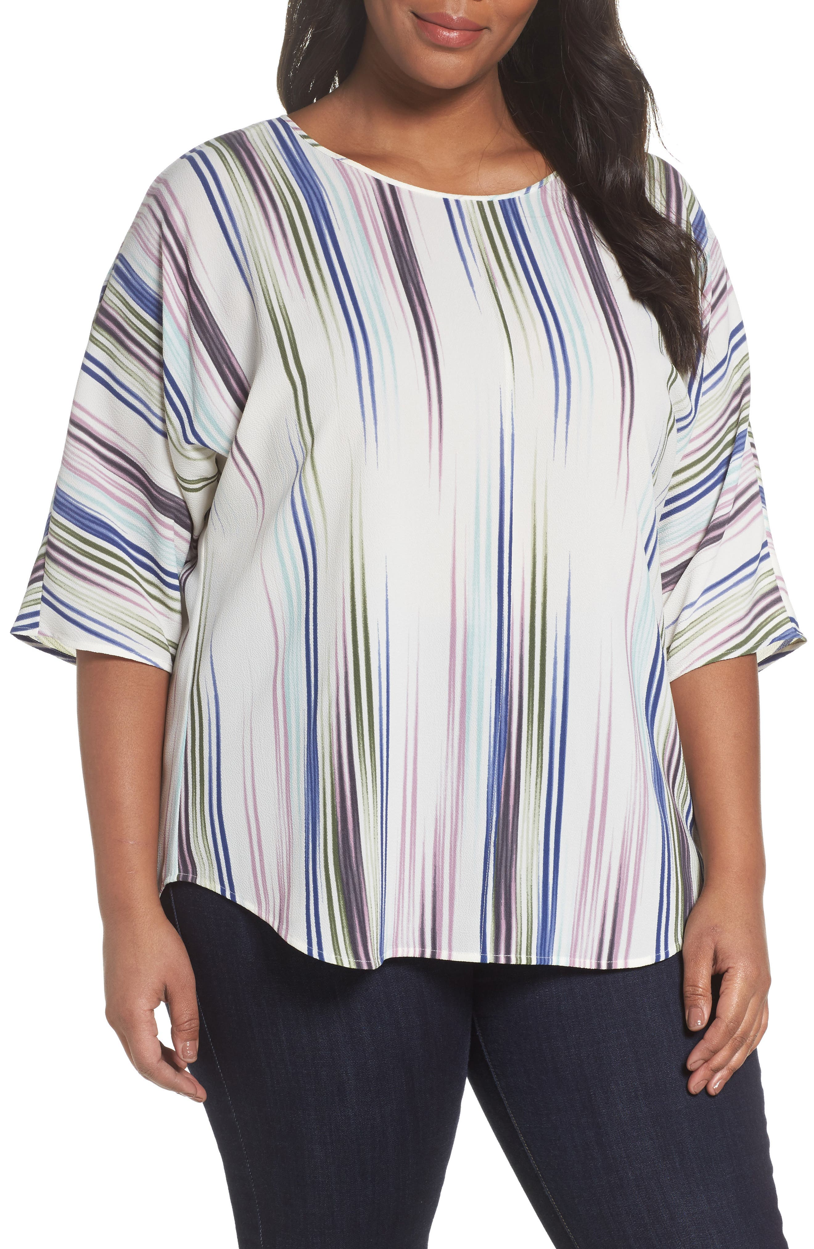 Elbow Sleeve Colorful Peaks Blouse,                         Main,                         color, Ivory