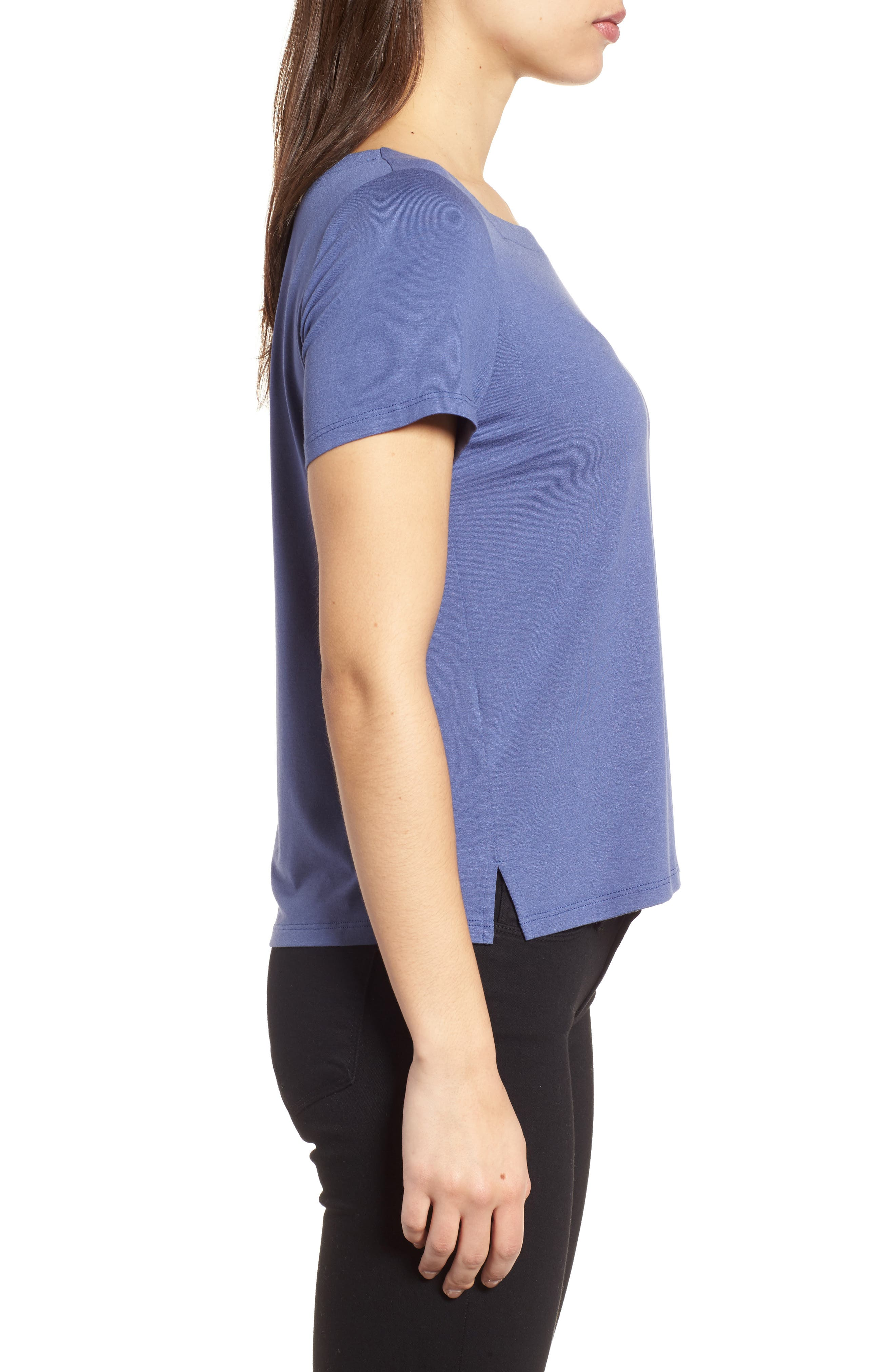 Square Neck Jersey Top,                             Alternate thumbnail 3, color,                             Blue Angel