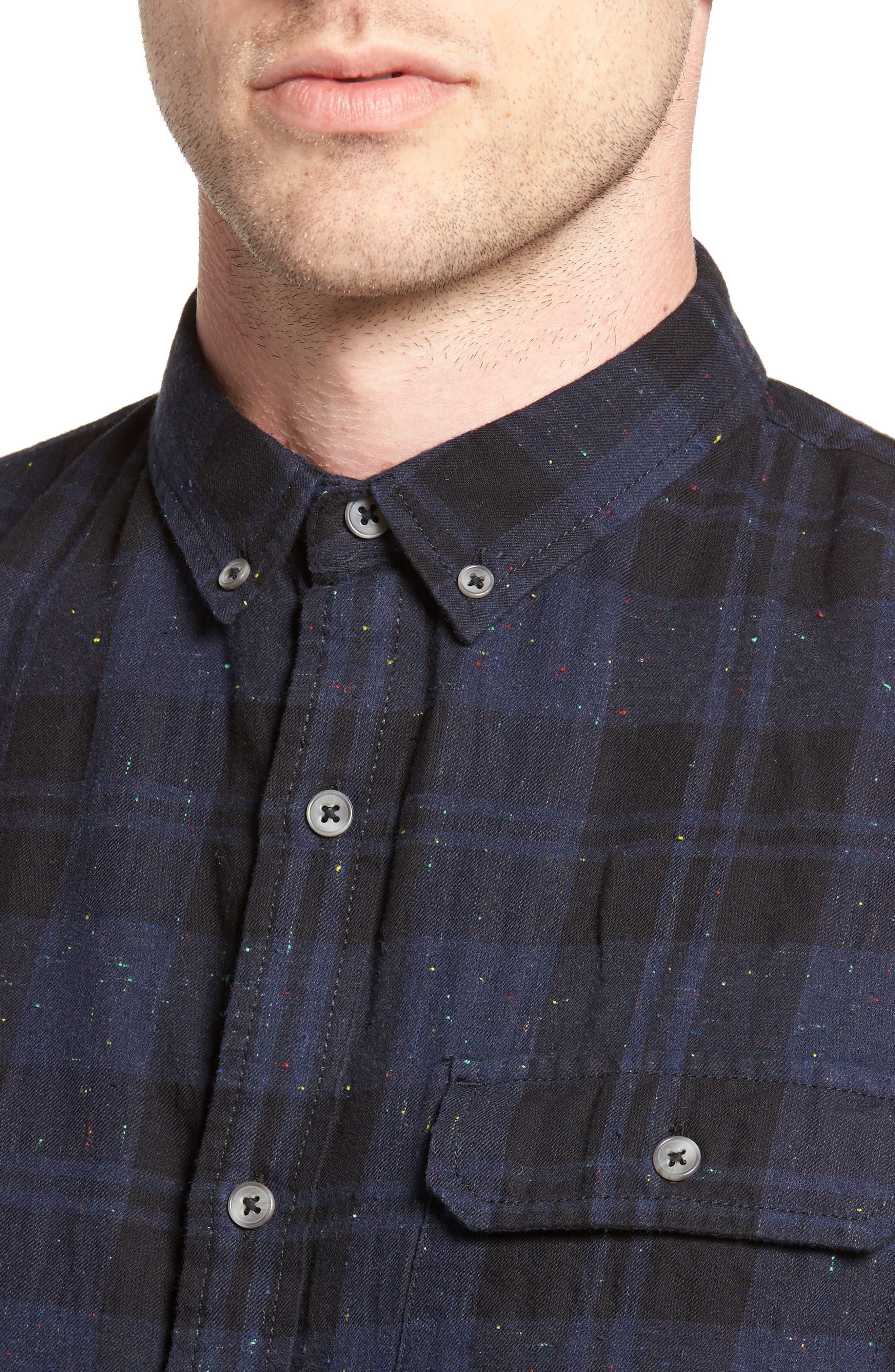 Long Sleeve Plaid Nep Shirt,                             Alternate thumbnail 4, color,                             Navy- Black Nepped Plaid