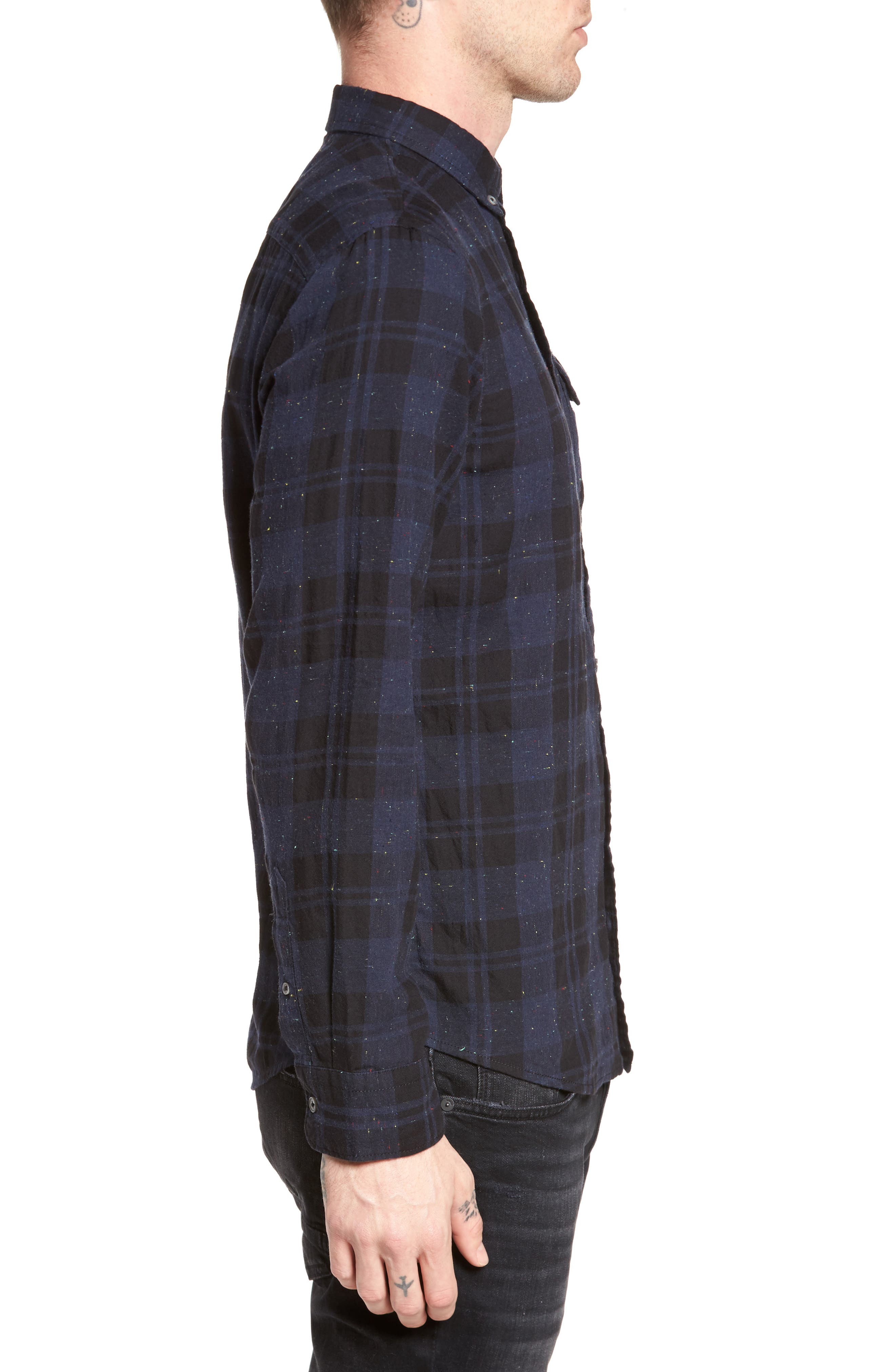 Long Sleeve Plaid Nep Shirt,                             Alternate thumbnail 3, color,                             Navy- Black Nepped Plaid