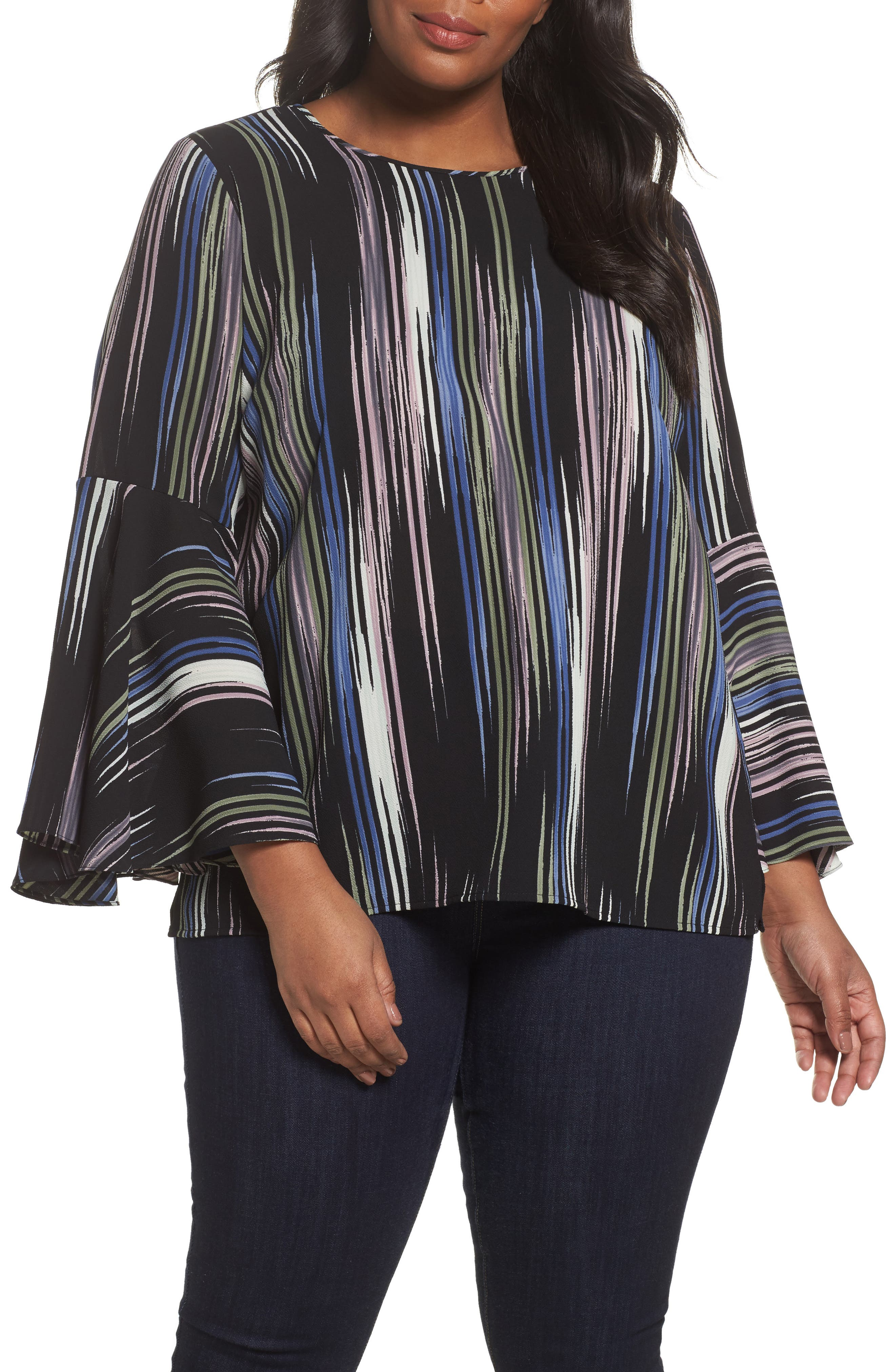 Main Image - Vince Camuto Bell Sleeve Colorful Peak Blouse (Plus Size)