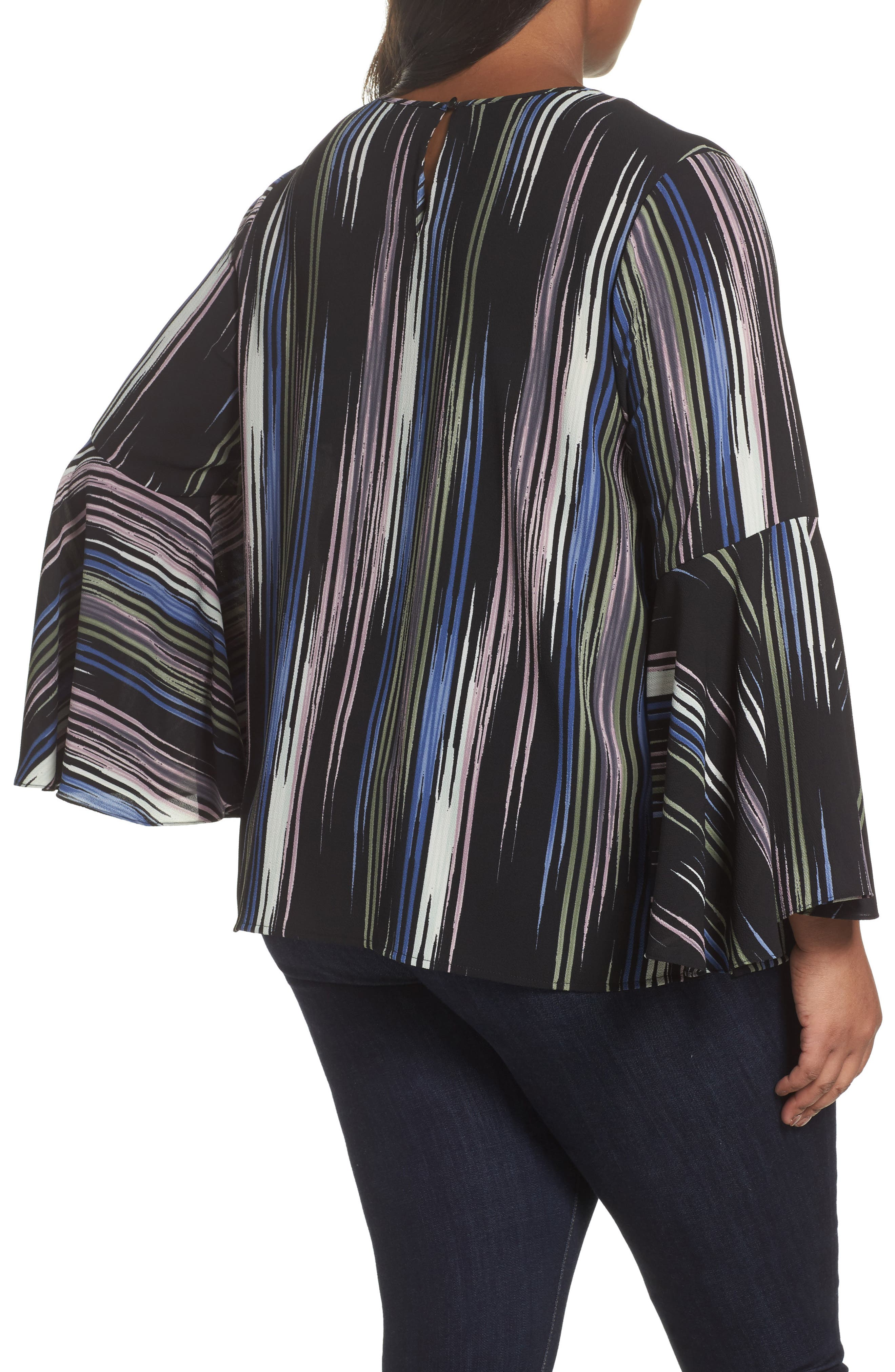 Alternate Image 2  - Vince Camuto Bell Sleeve Colorful Peak Blouse (Plus Size)