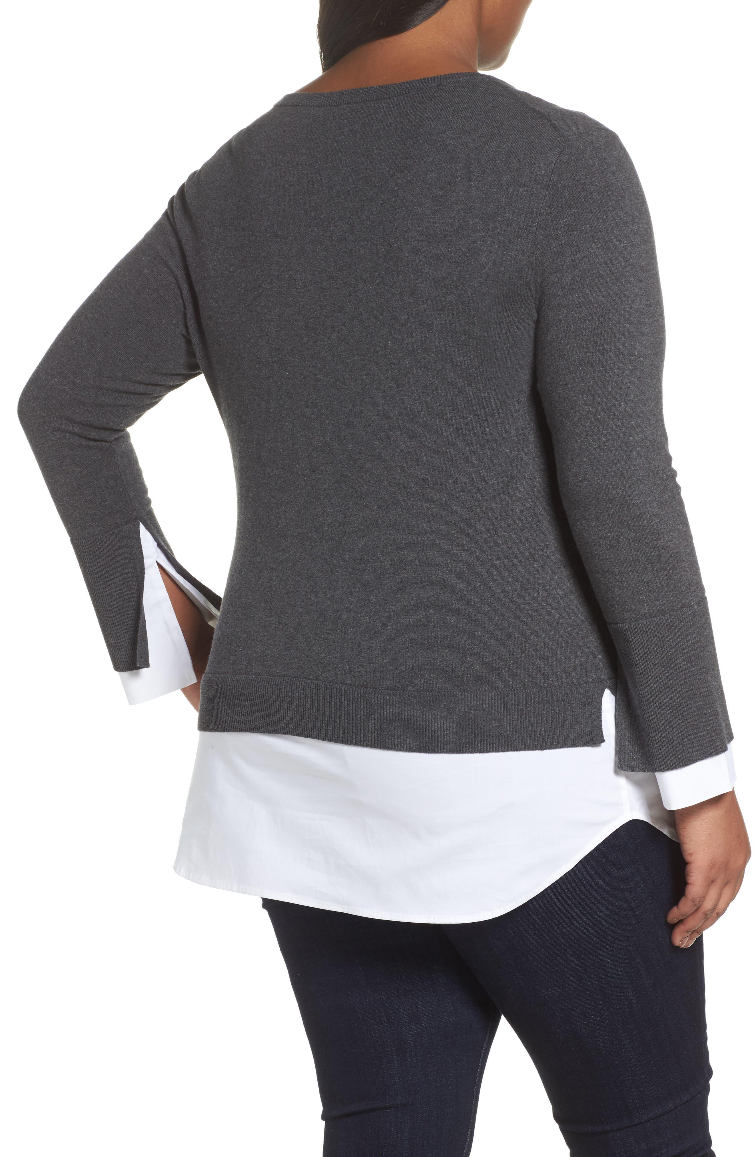 Layered Look Sweater,                             Alternate thumbnail 2, color,                             Medium Heather Grey