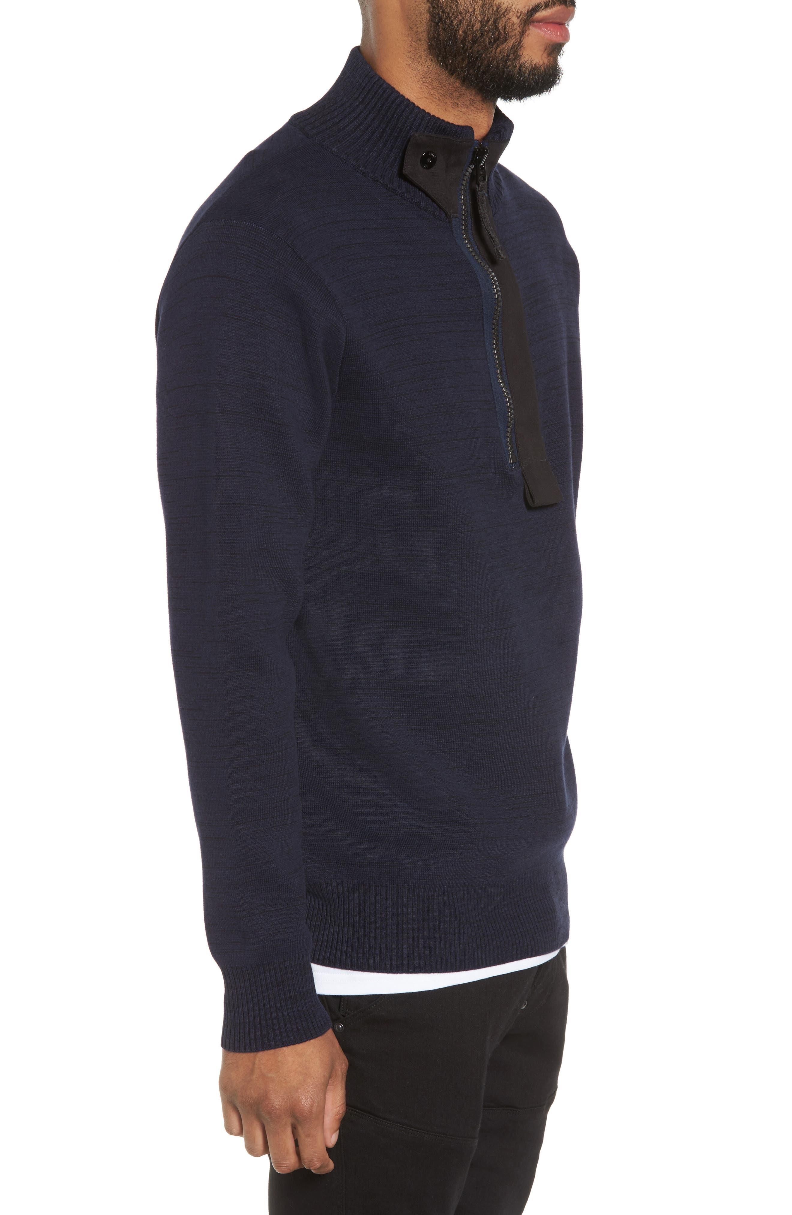 Empral Half-Zip Sweater,                             Alternate thumbnail 3, color,                             Blue/ Dark Black