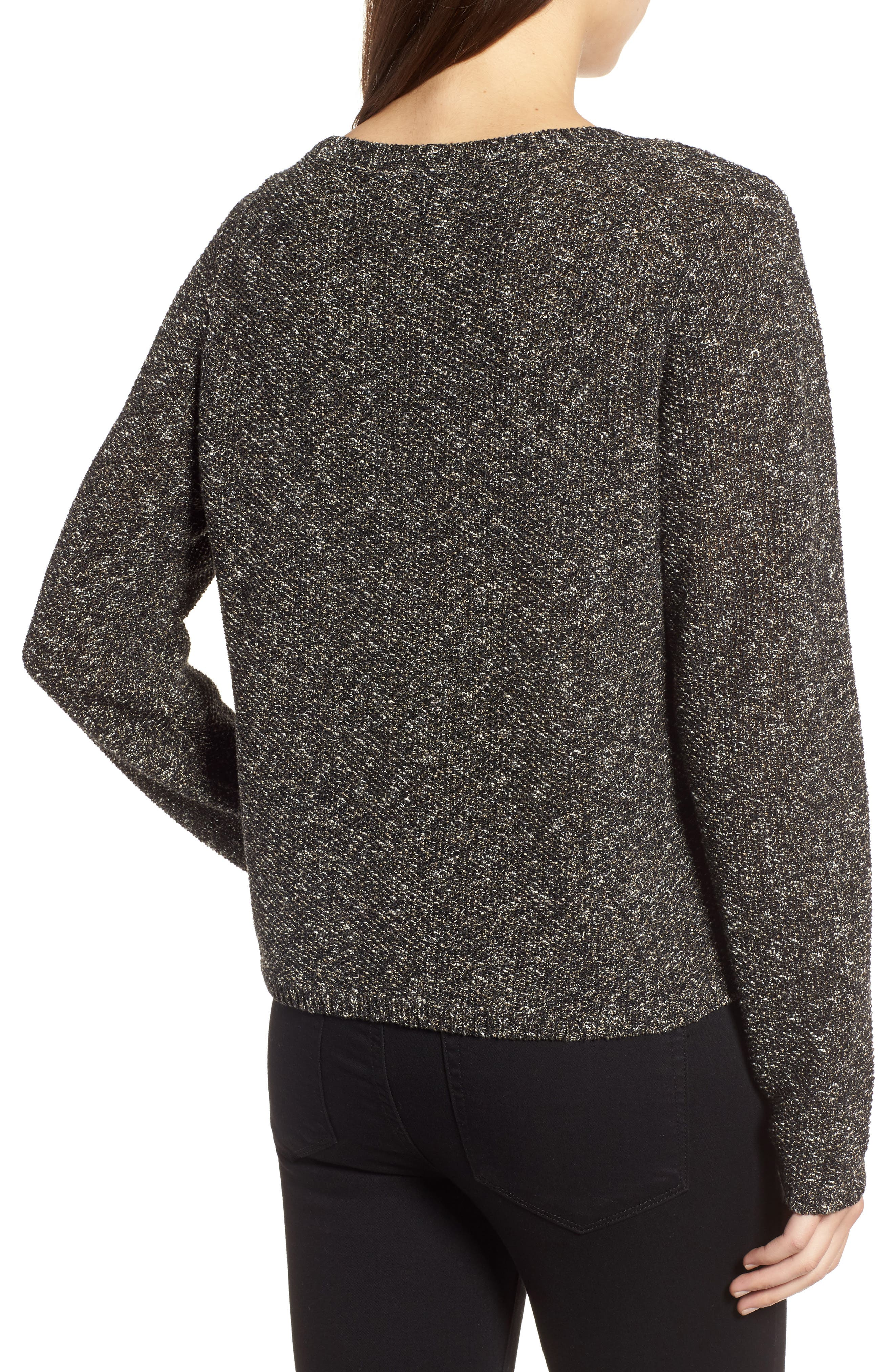Tweed Knit Sweater,                             Alternate thumbnail 2, color,                             Black