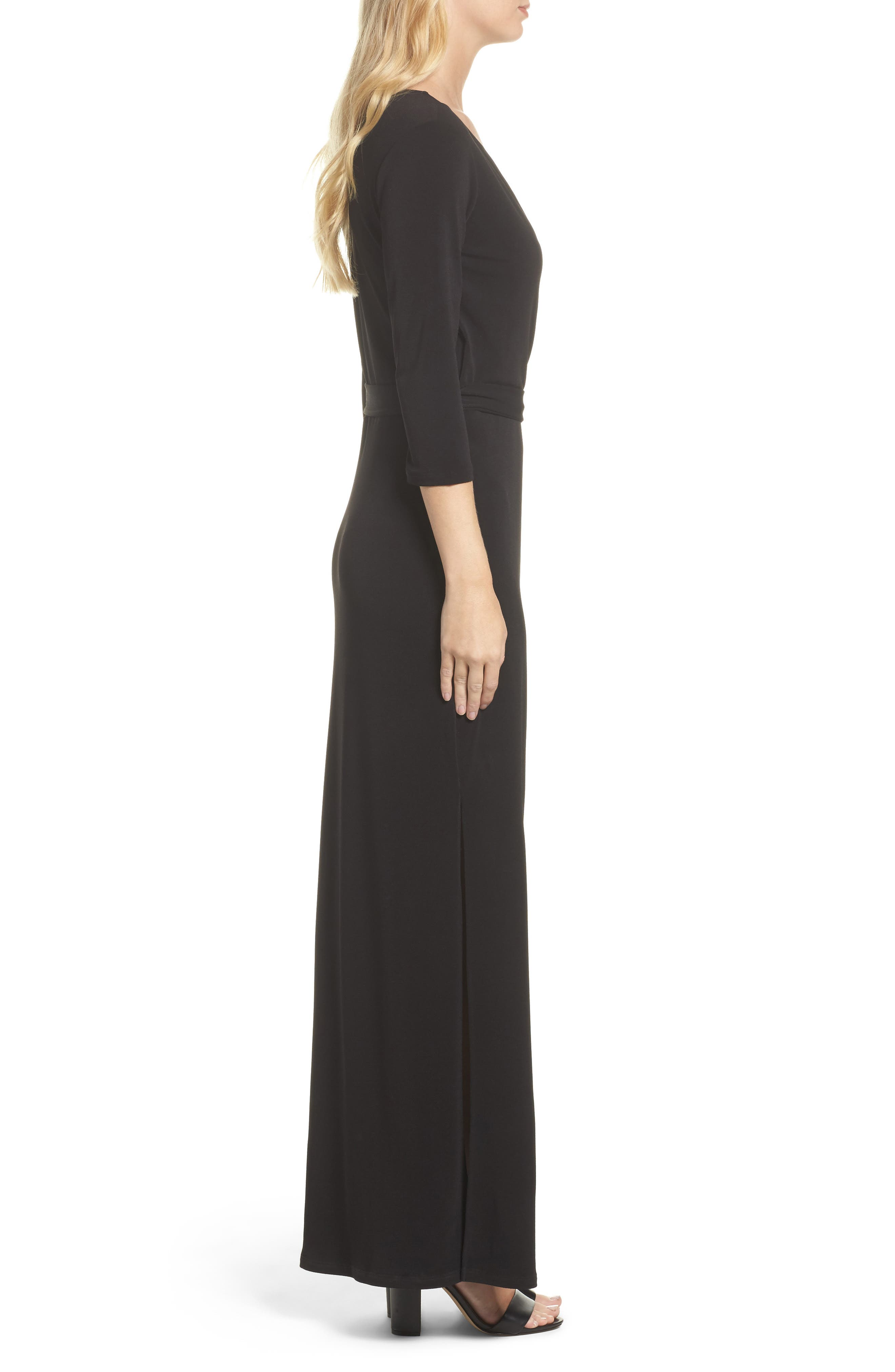 Perfect Wrap Maxi Dress,                             Alternate thumbnail 3, color,                             Black Crepe