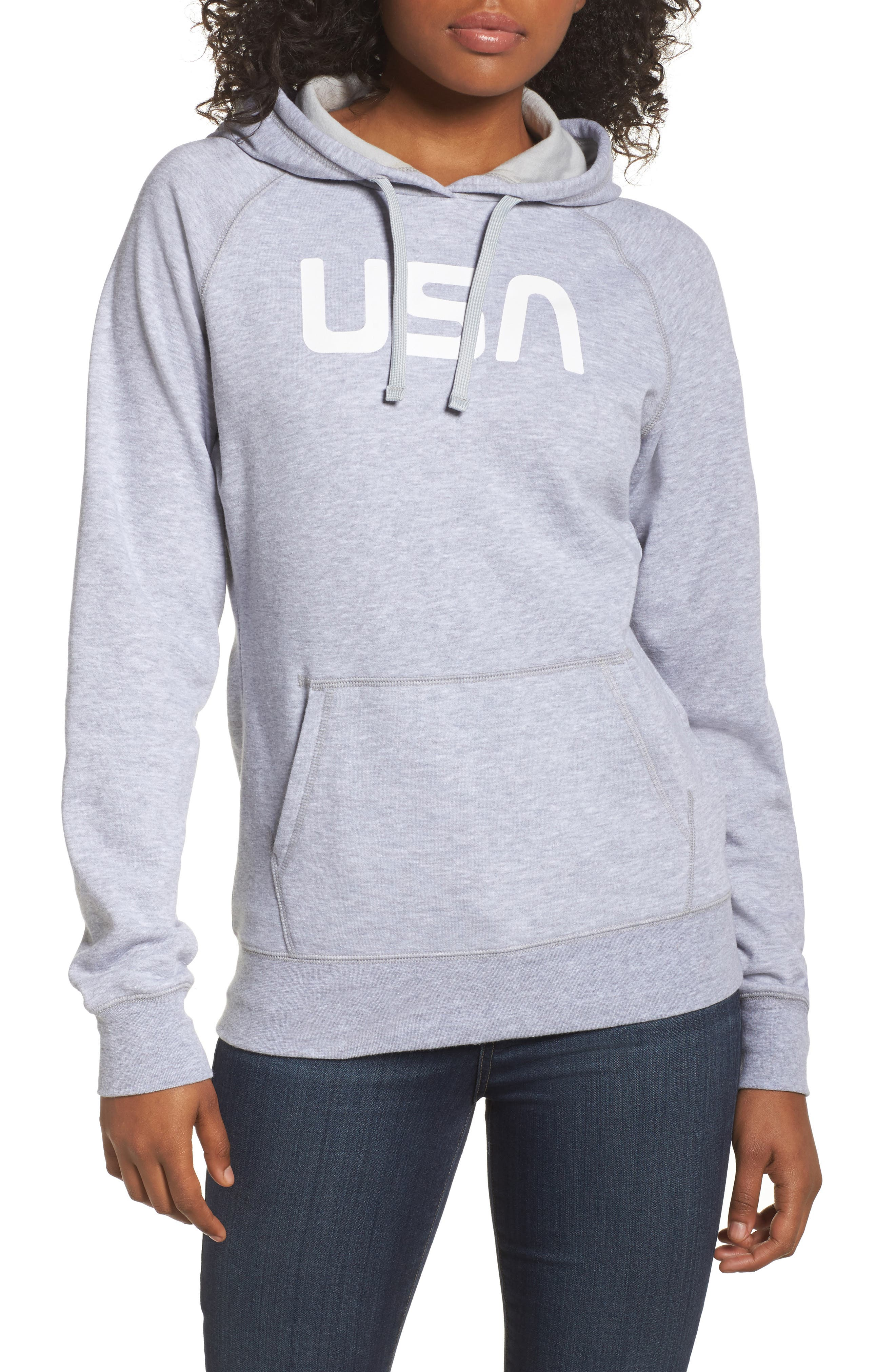 International Collection USA Pullover Hoodie,                             Main thumbnail 1, color,                             Tnf Light Grey Heather