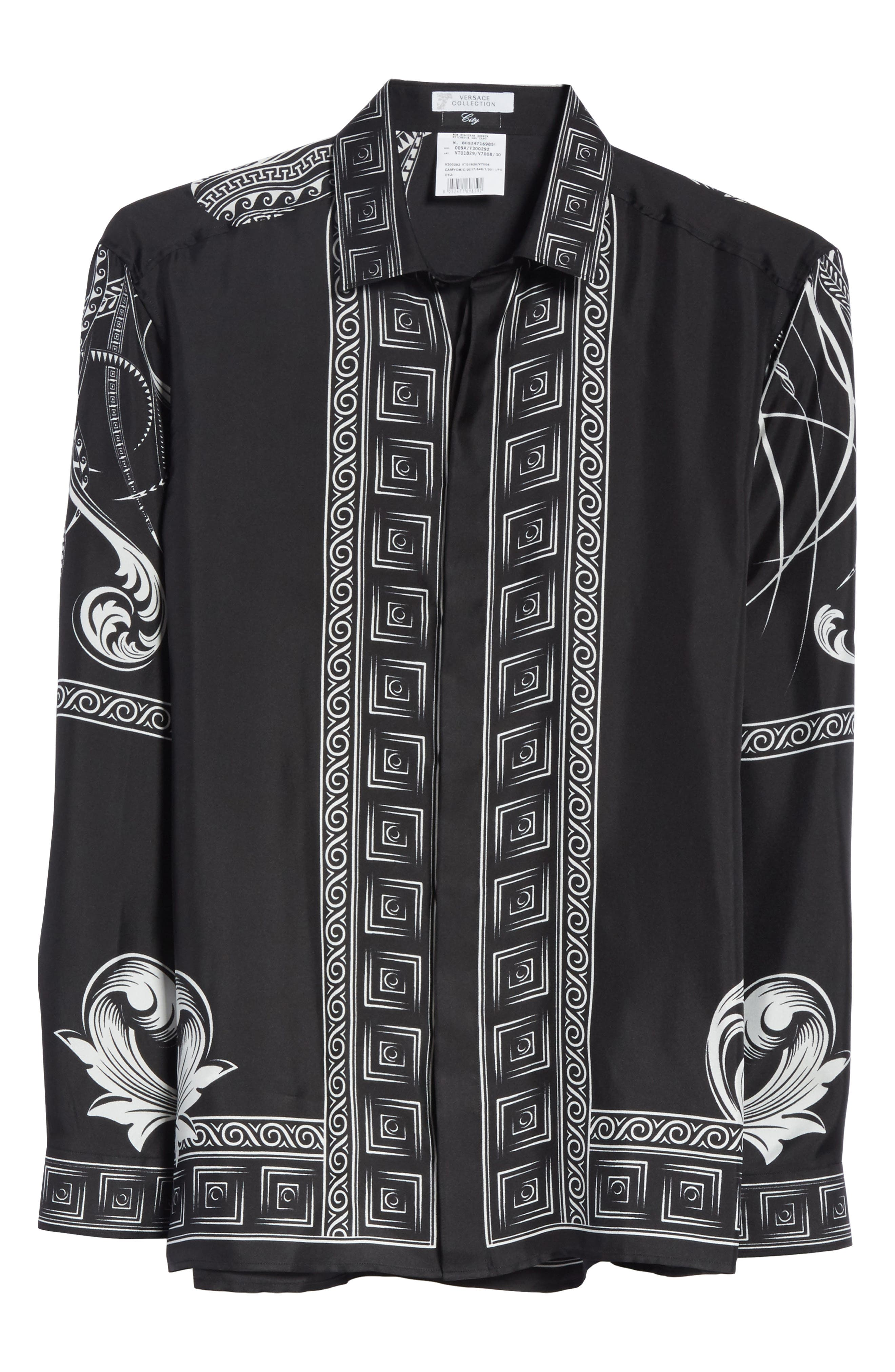 Print Silk Shirt,                             Alternate thumbnail 6, color,                             Black Paint